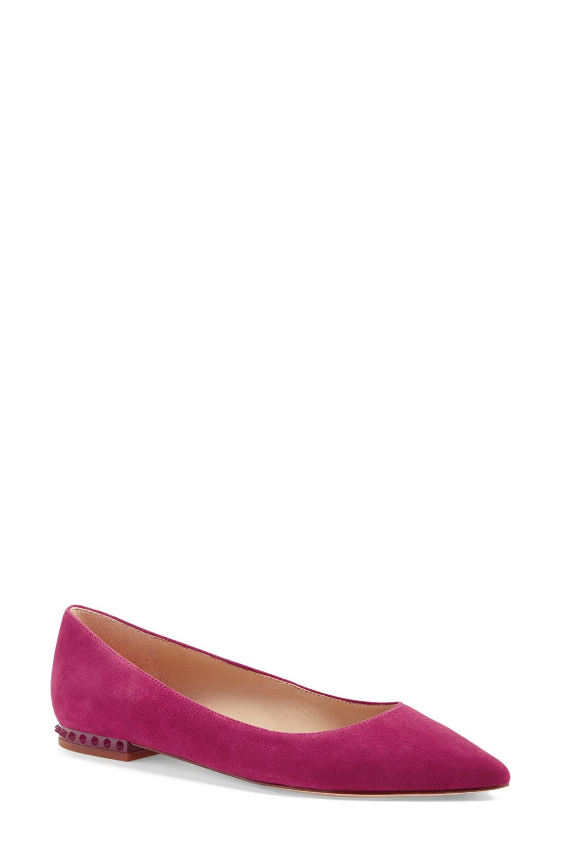 'Reyanne' Spike Rand Pointy Toe Flat,                             Main thumbnail 1, color,                             Pink Garnet Suede