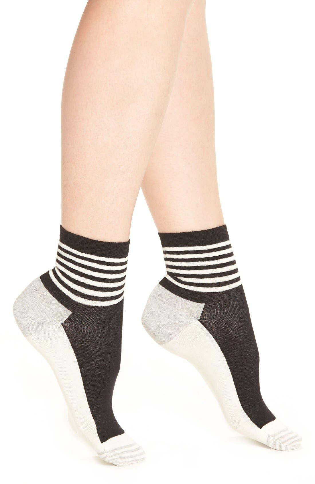 Stripe Colorblock Anklet Socks,                             Main thumbnail 1, color,                             Black