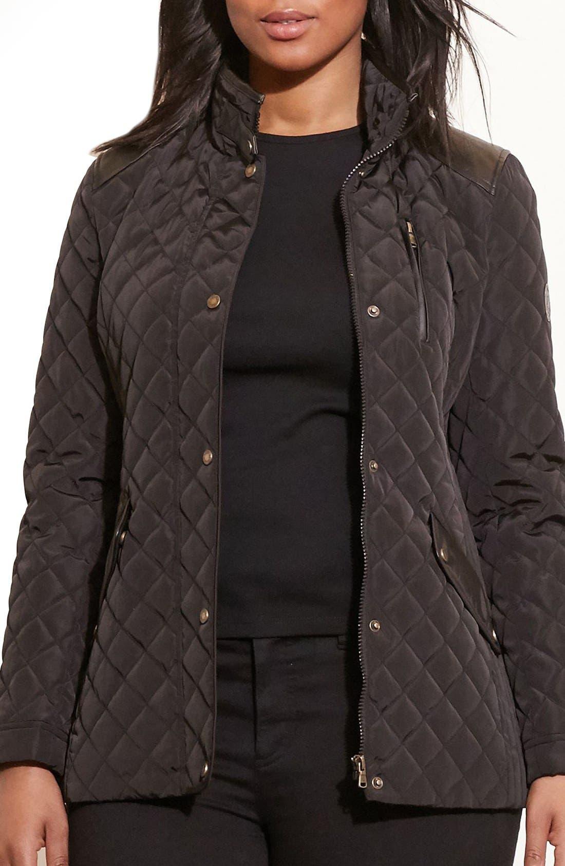 Lauren Ralph Lauren Quilted Jacket with Faux Leather Trim (Plus Size)
