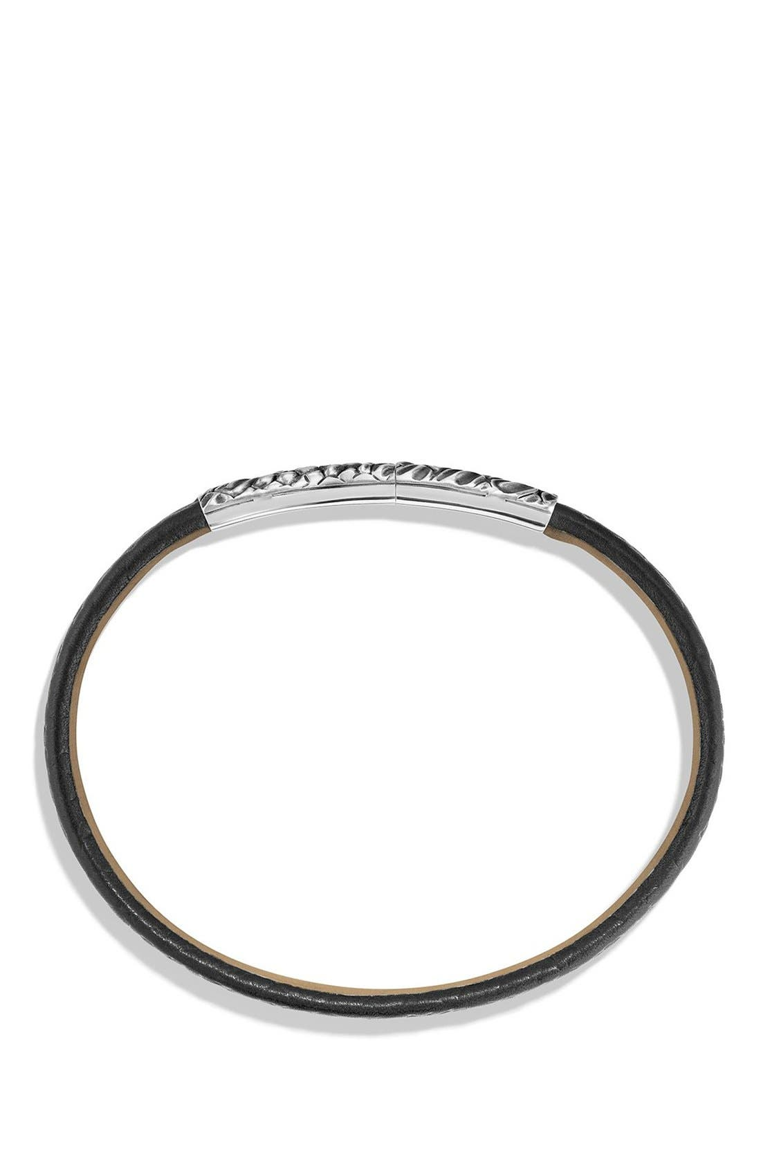 Gator Leather Bracelet,                             Alternate thumbnail 2, color,                             Silver/ Black Leather