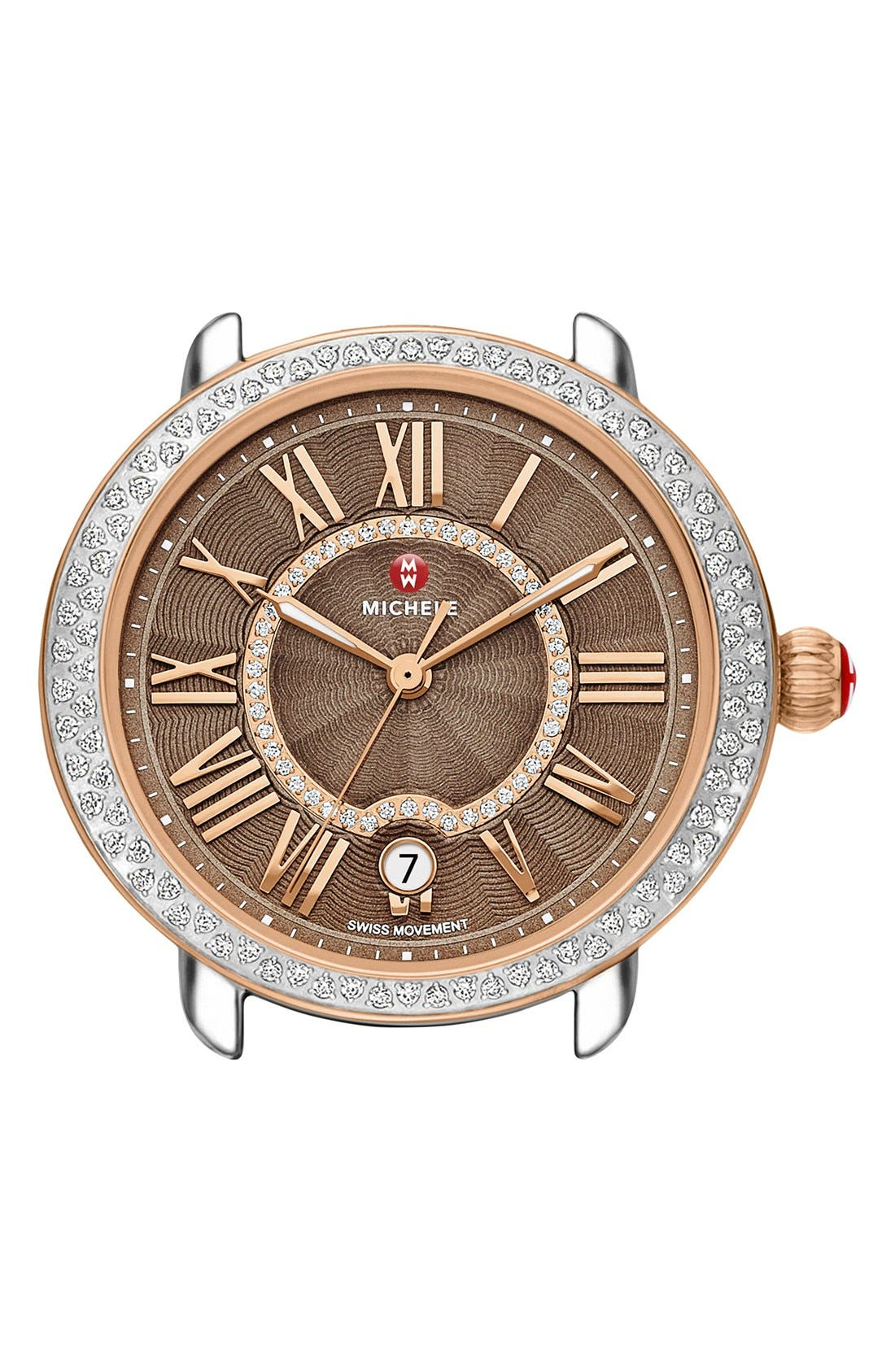 Serein 16 Diamond Watch Case, 34mm x 36mm,                             Main thumbnail 1, color,                             Rose Gold/ Cocoa