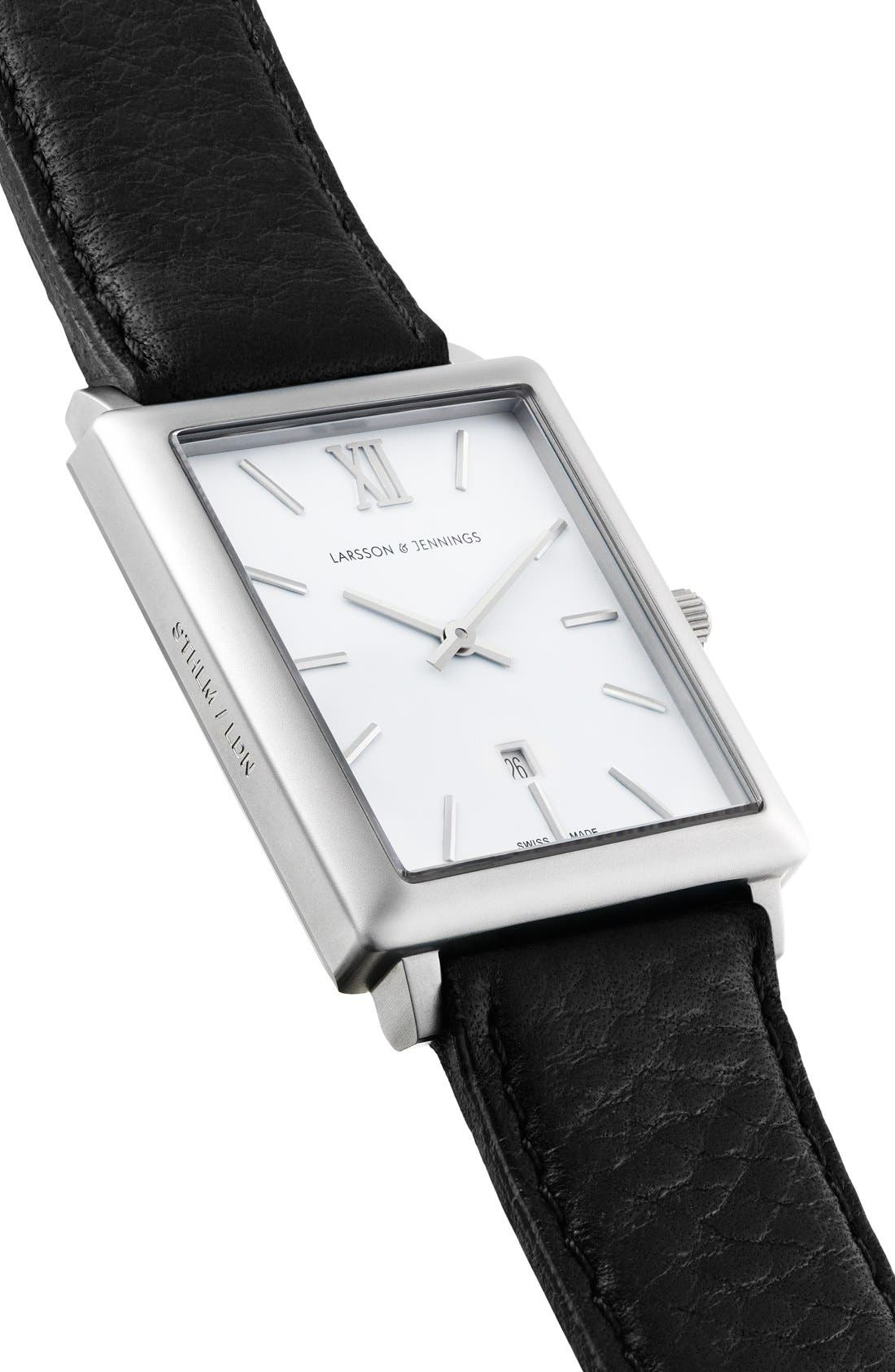 Alternate Image 4  - Larsson & Jennings 'Norse' Rectangular Leather Strap Watch, 29mm x 40mm