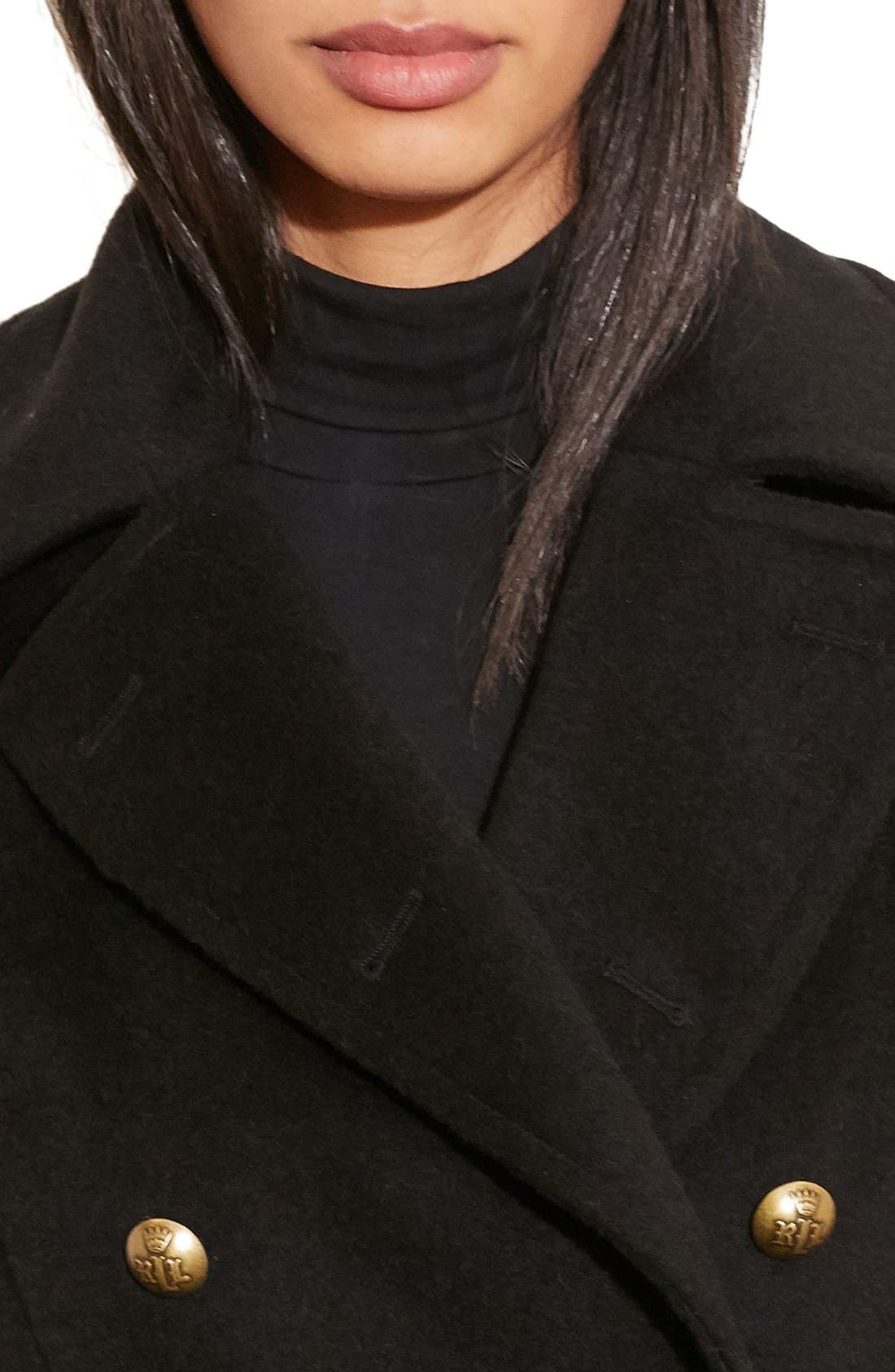 Alternate Image 3  - Lauren Ralph Lauren Skirted Wool Blend Military Coat
