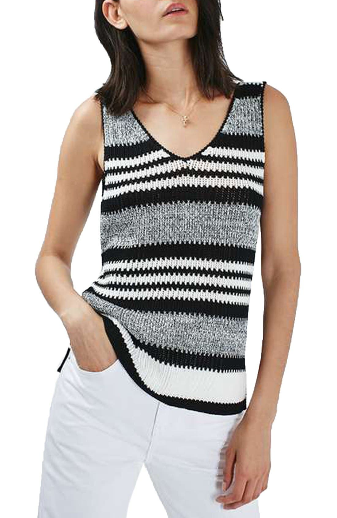 Alternate Image 1 Selected - Topshop Monochrome Stripe Sweater Vest