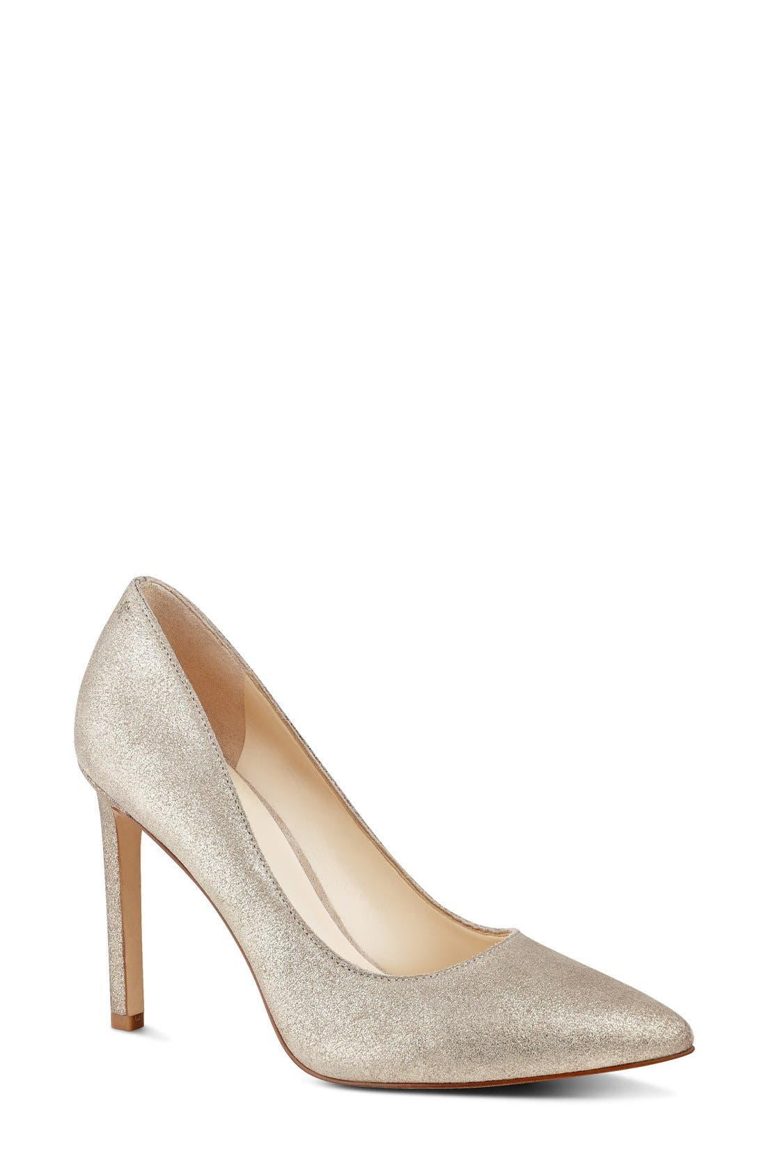 'Tatiana' Pump,                             Main thumbnail 1, color,                             Natural/ Gold Metallic Suede