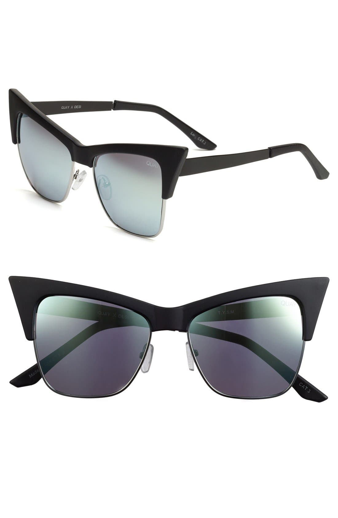 Alternate Image 1 Selected - Quay Australia x Desi Perkins 'TYSM' 55mm Cat Eye Sunglasses