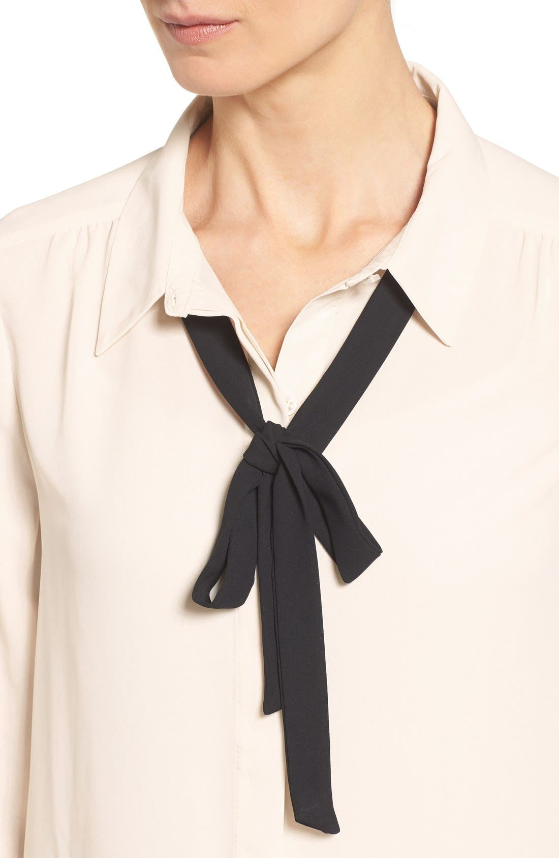 Long Sleeve Contrast Bow Blouse,                             Alternate thumbnail 4, color,                             Ivory