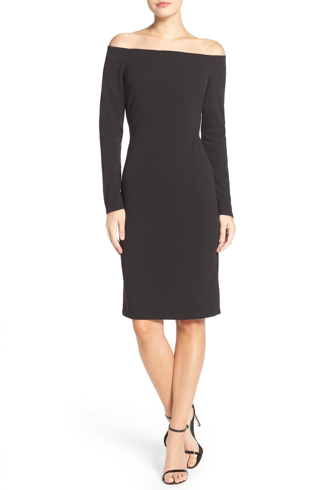 Alternate Image 4  - Eliza J Off the Shoulder Scuba Sheath Dress (Regular & Petite)
