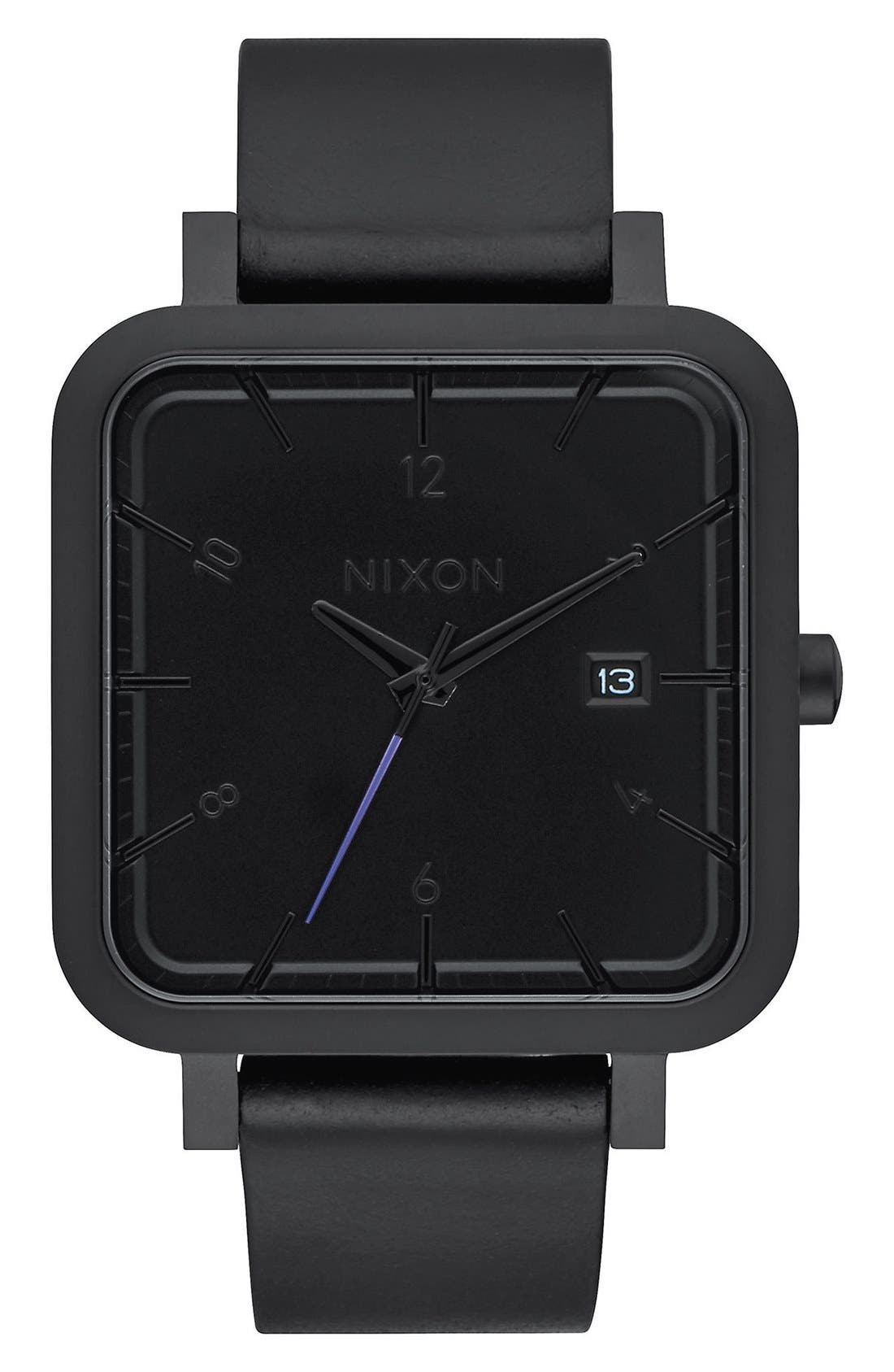 Nixon 'Ragnar' Leather Strap Watch, 36mm