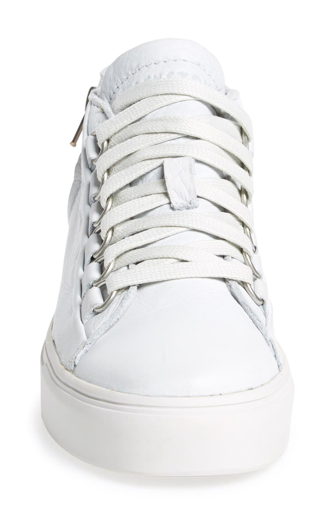 'LL60' Midi Sneaker,                             Alternate thumbnail 3, color,                             White Leather