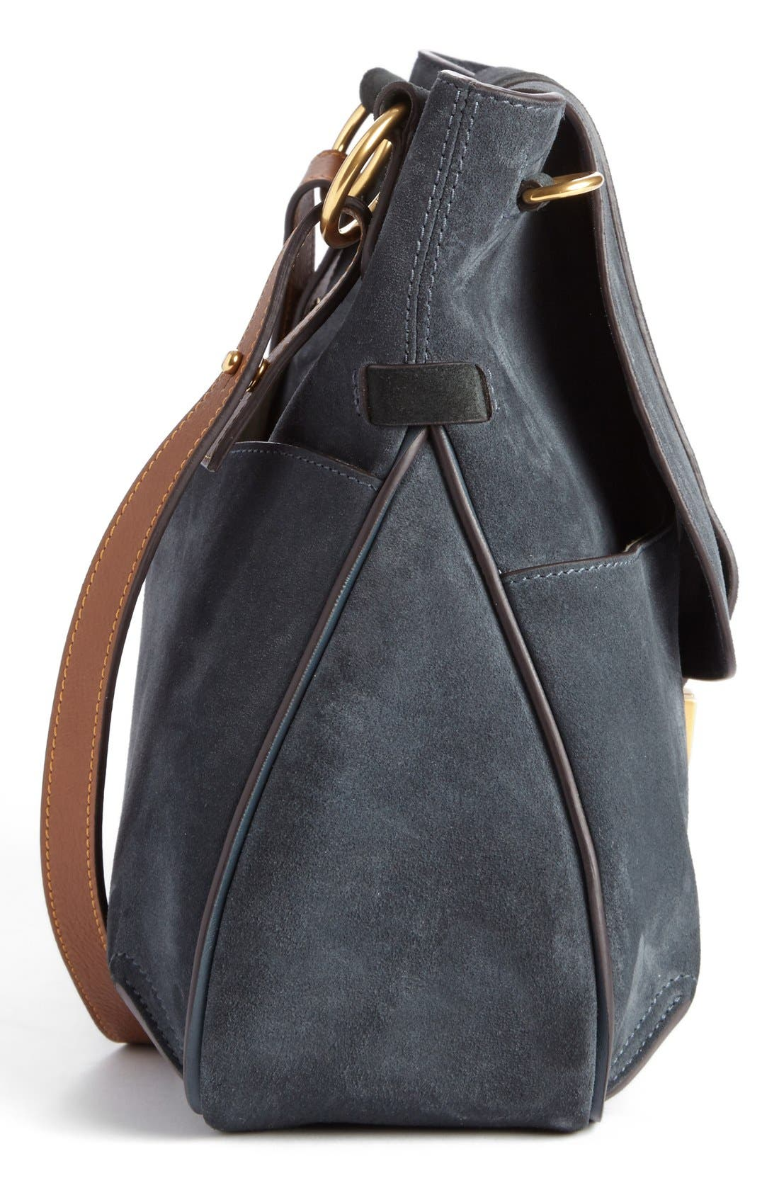 'Medium Lexa' Suede Shoulder Bag,                             Alternate thumbnail 4, color,                             Silver Blue
