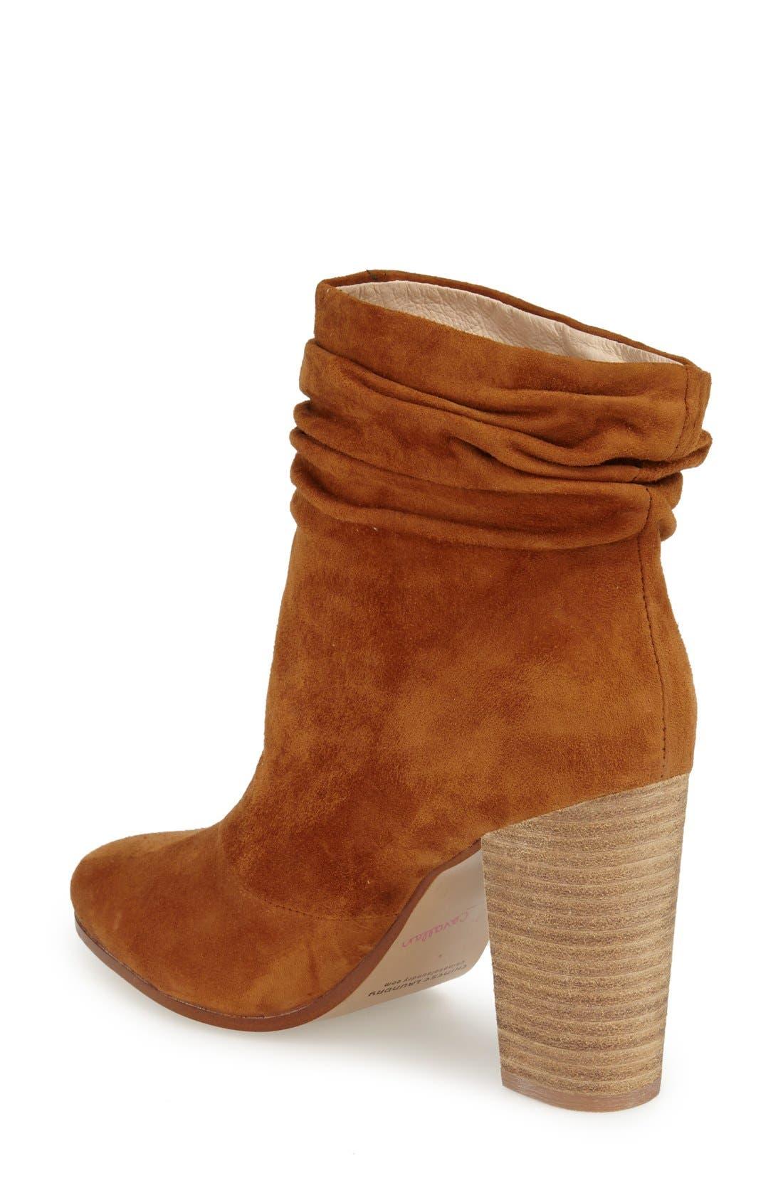 Georgie Block Heel Boot,                             Alternate thumbnail 2, color,                             Caramel Suede
