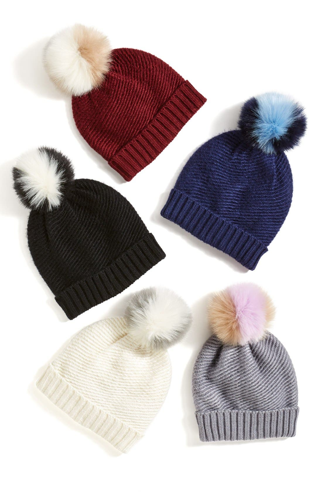 Faux Fur Pompom Knit Beanie,                             Alternate thumbnail 5, color,