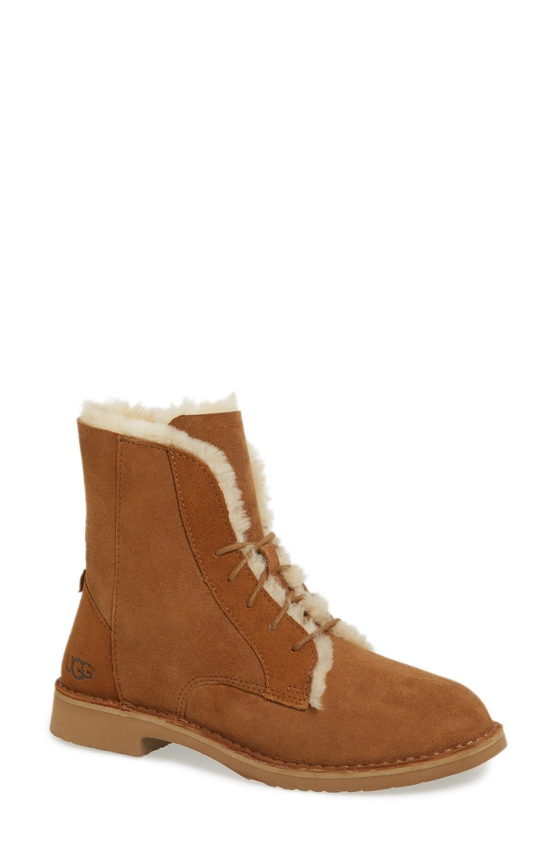 QUINCY LEATHER AND SHEEPSKIN LACE UP BOOTIES