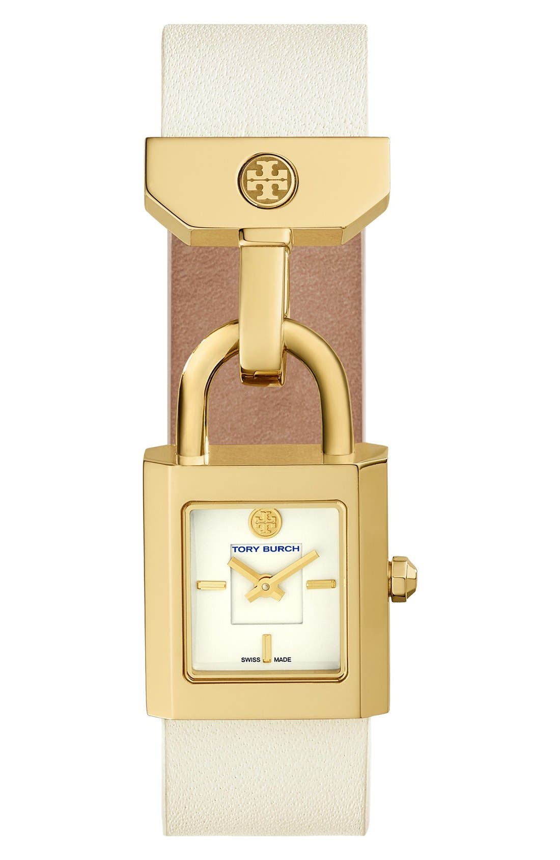 'Surrey' Leather Strap Watch, 22mm x 24mm,                             Main thumbnail 1, color,                             Ivory/ Gold
