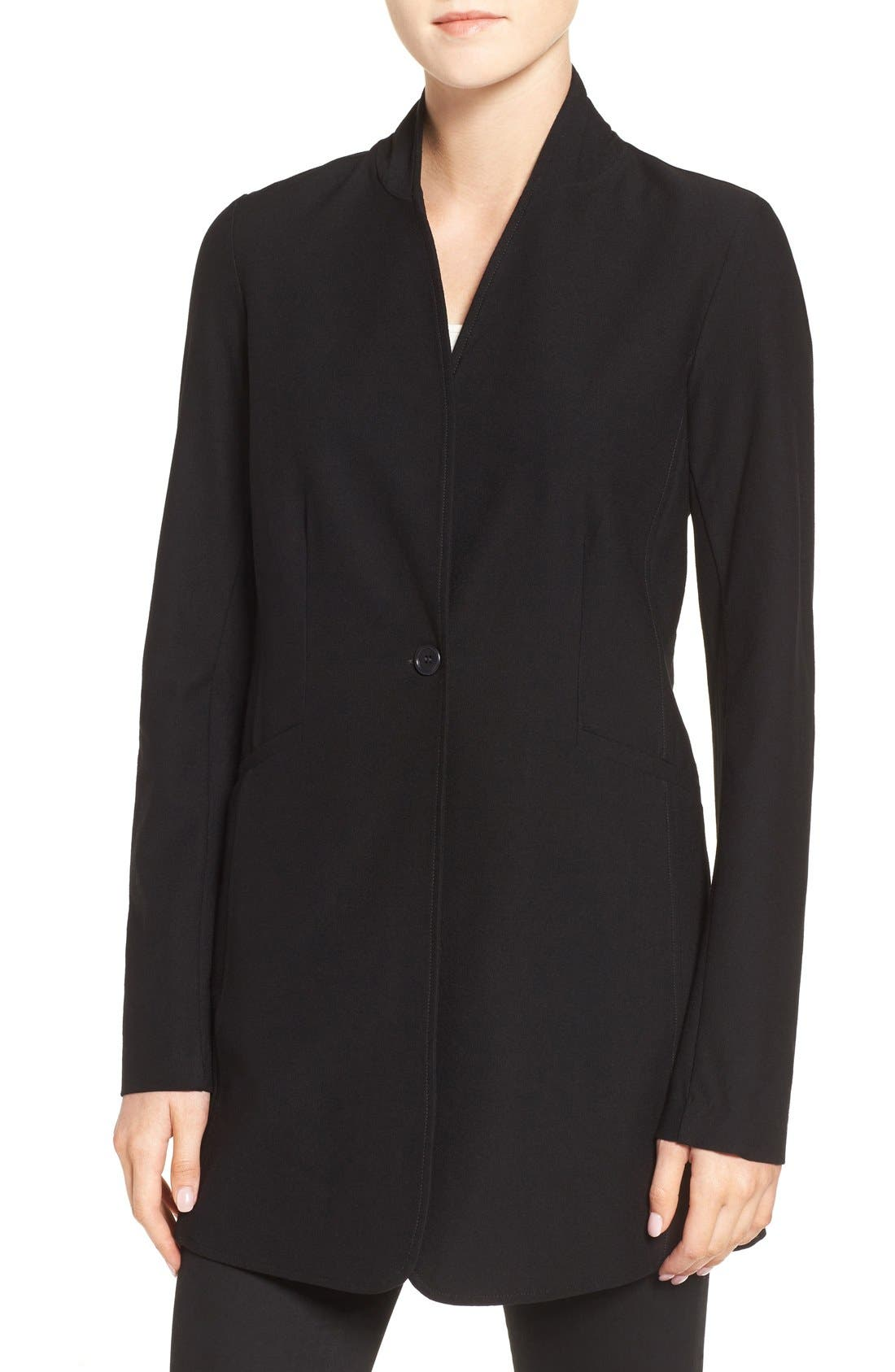 Washable Stretch Crepe Stand Collar Jacket,                             Main thumbnail 1, color,                             Black