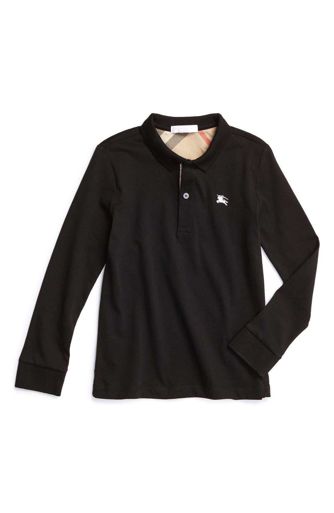 'Mini' Long Sleeve Piqué Polo,                         Main,                         color, Black