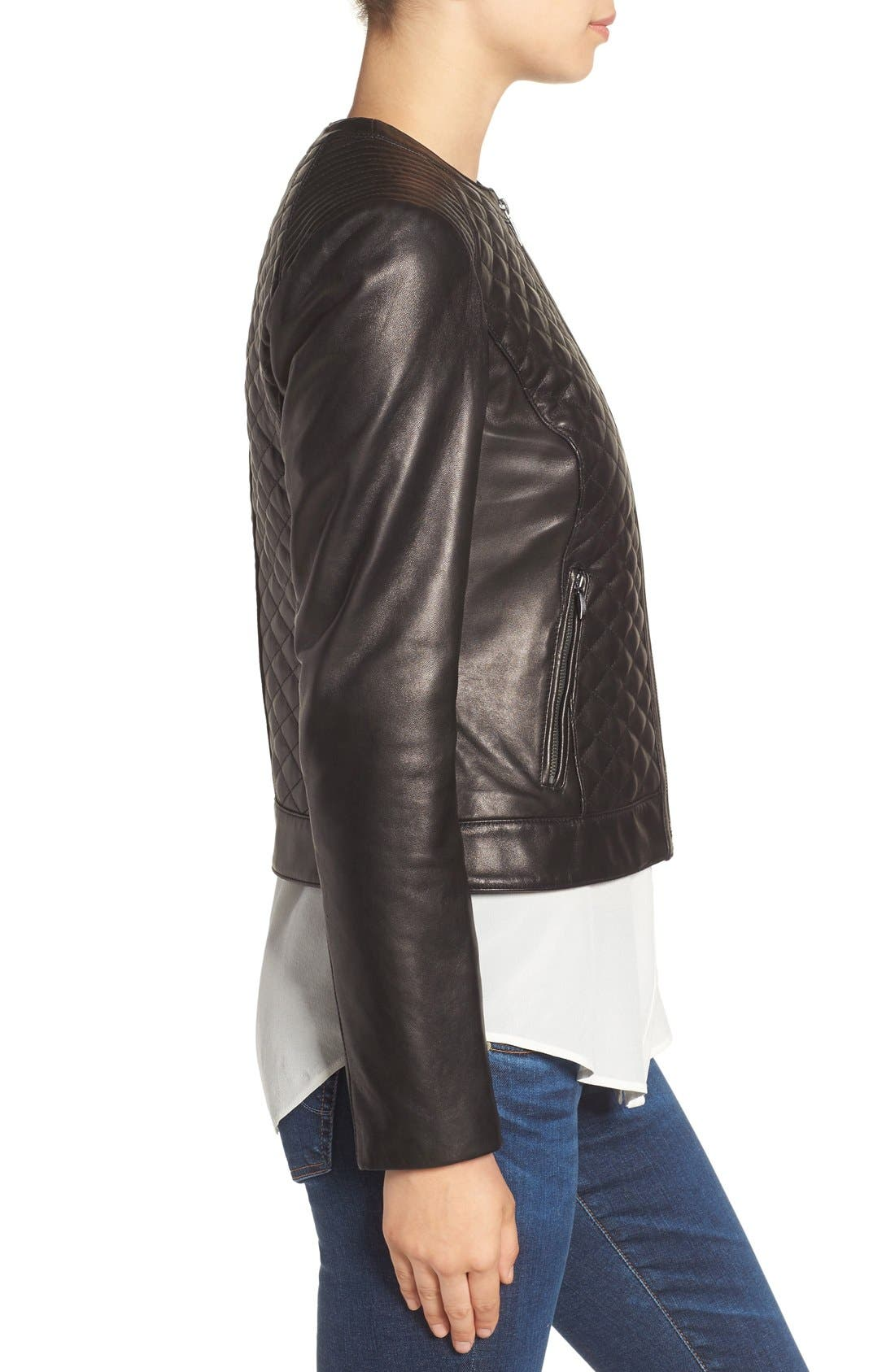 Alternate Image 3  - Cole Haan Quilted Leather Moto Jacket