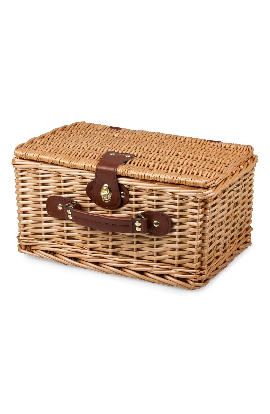 'Catalina' Wicker Picnic Basket,                             Alternate thumbnail 2, color,                             Red