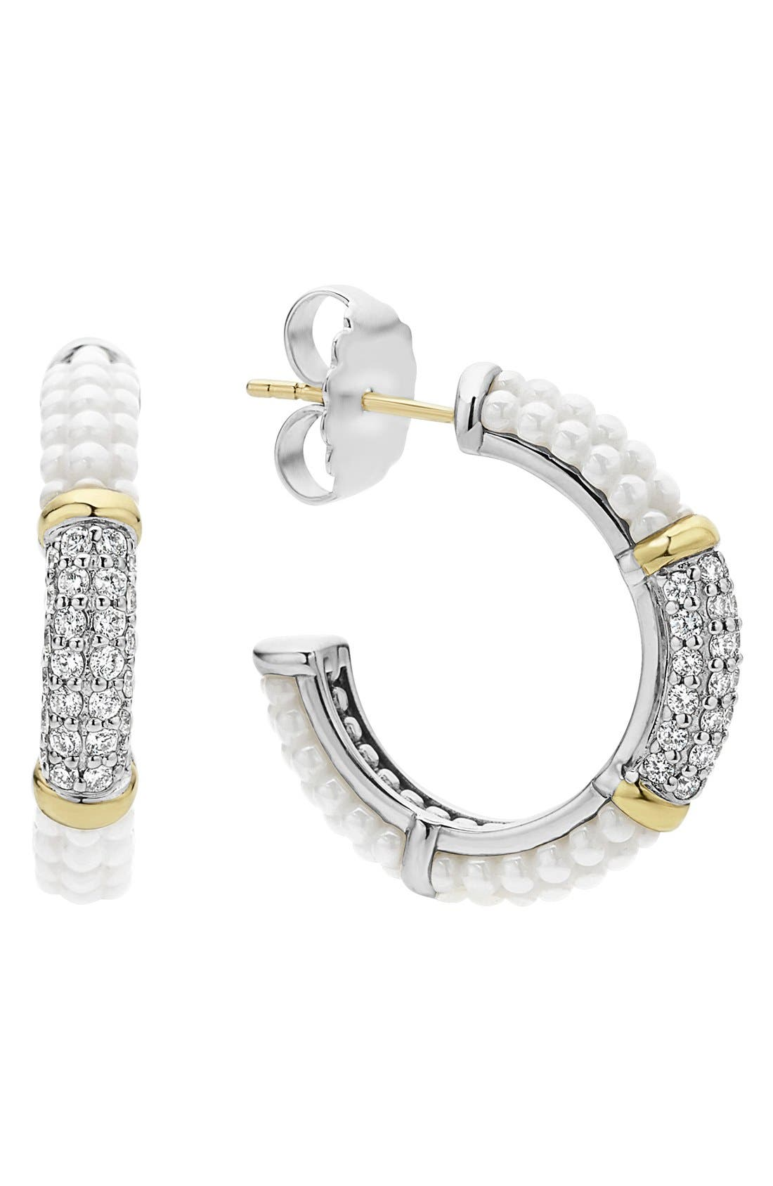 'Black & White Caviar' Diamond Hoops,                         Main,                         color, White/ Gold