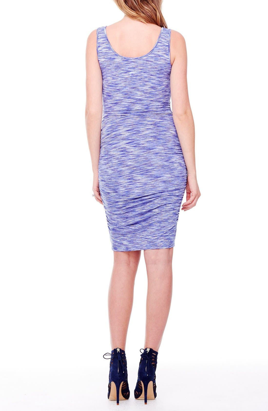 Space Dye Ruched Maternity Tank Dress,                             Alternate thumbnail 2, color,                             Cobalt Space Dye