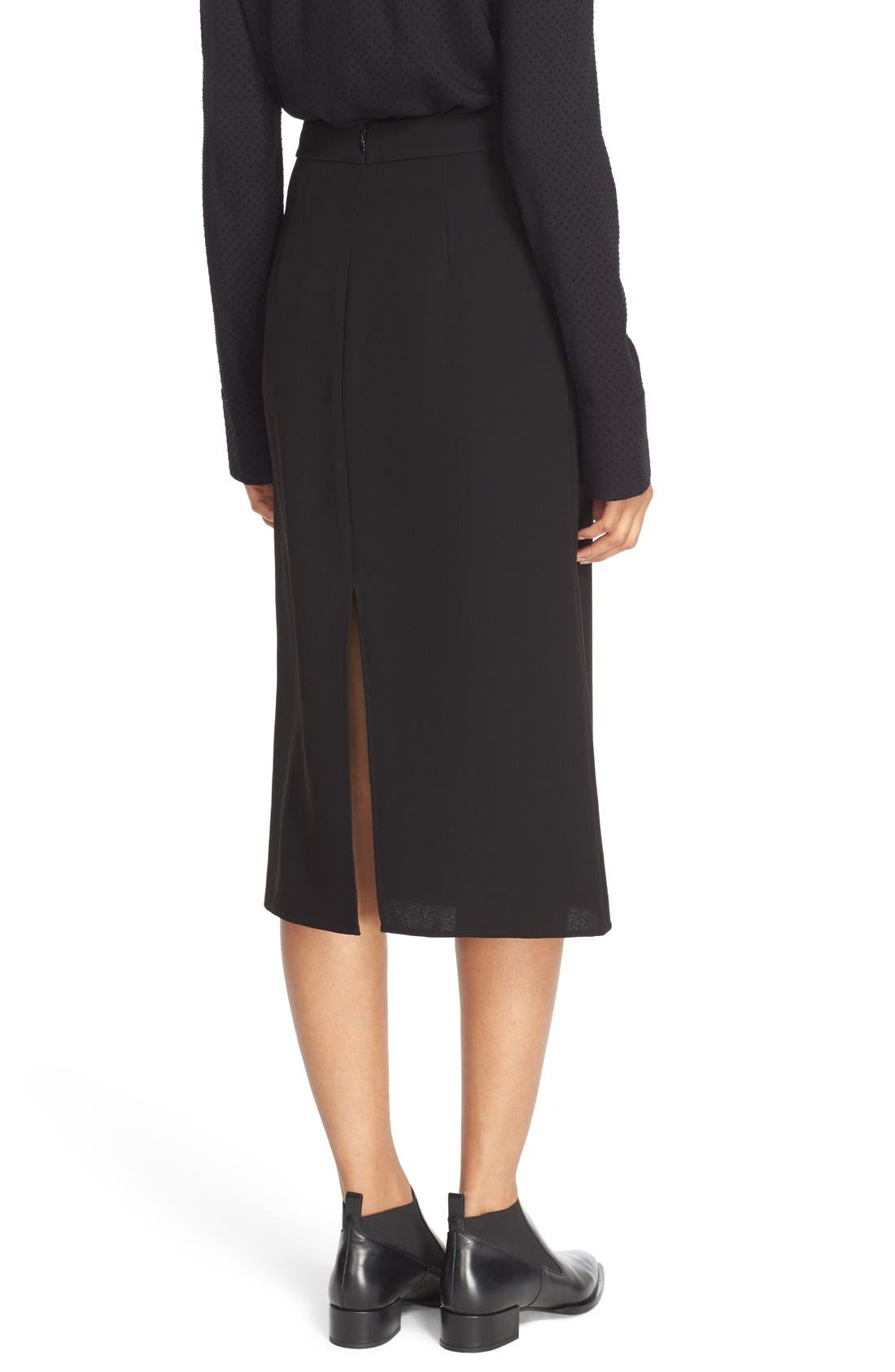 Double Slit Crepe Skirt,                             Alternate thumbnail 2, color,                             Black
