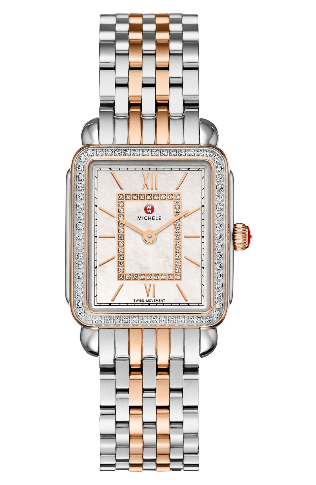 Deco II Mid Diamond Dial Watch Case, 26mm x 28mm,                             Alternate thumbnail 2, color,                             Silver/ Rose Gold