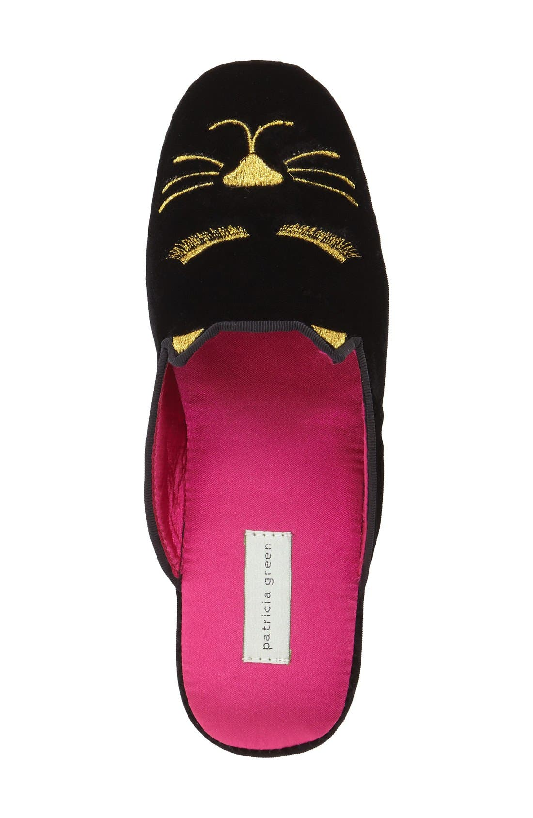 'Demure Kitty' Slipper,                             Alternate thumbnail 3, color,                             Black Velvet