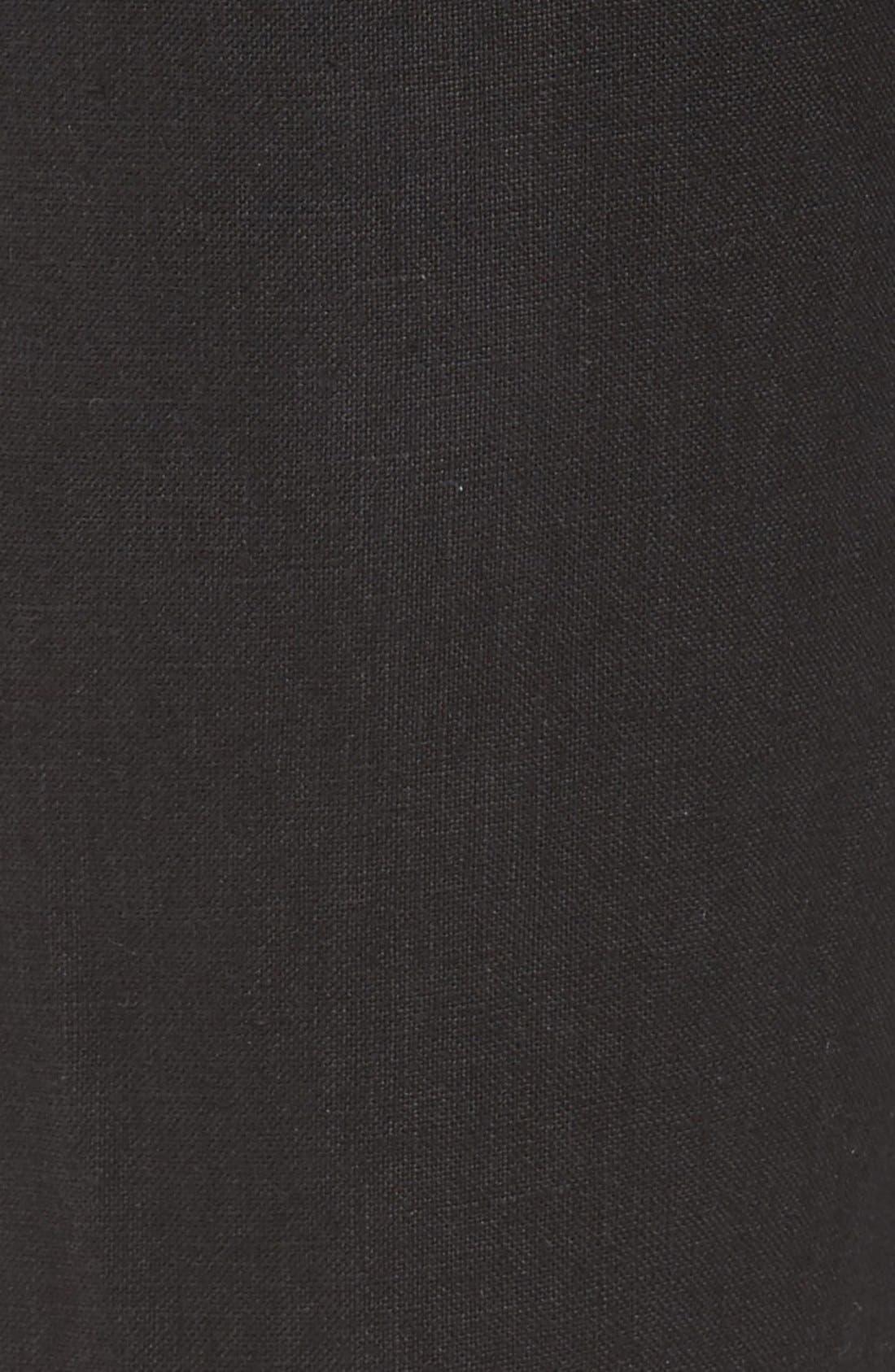 'Classic' Linen Pants,                             Alternate thumbnail 5, color,                             Black