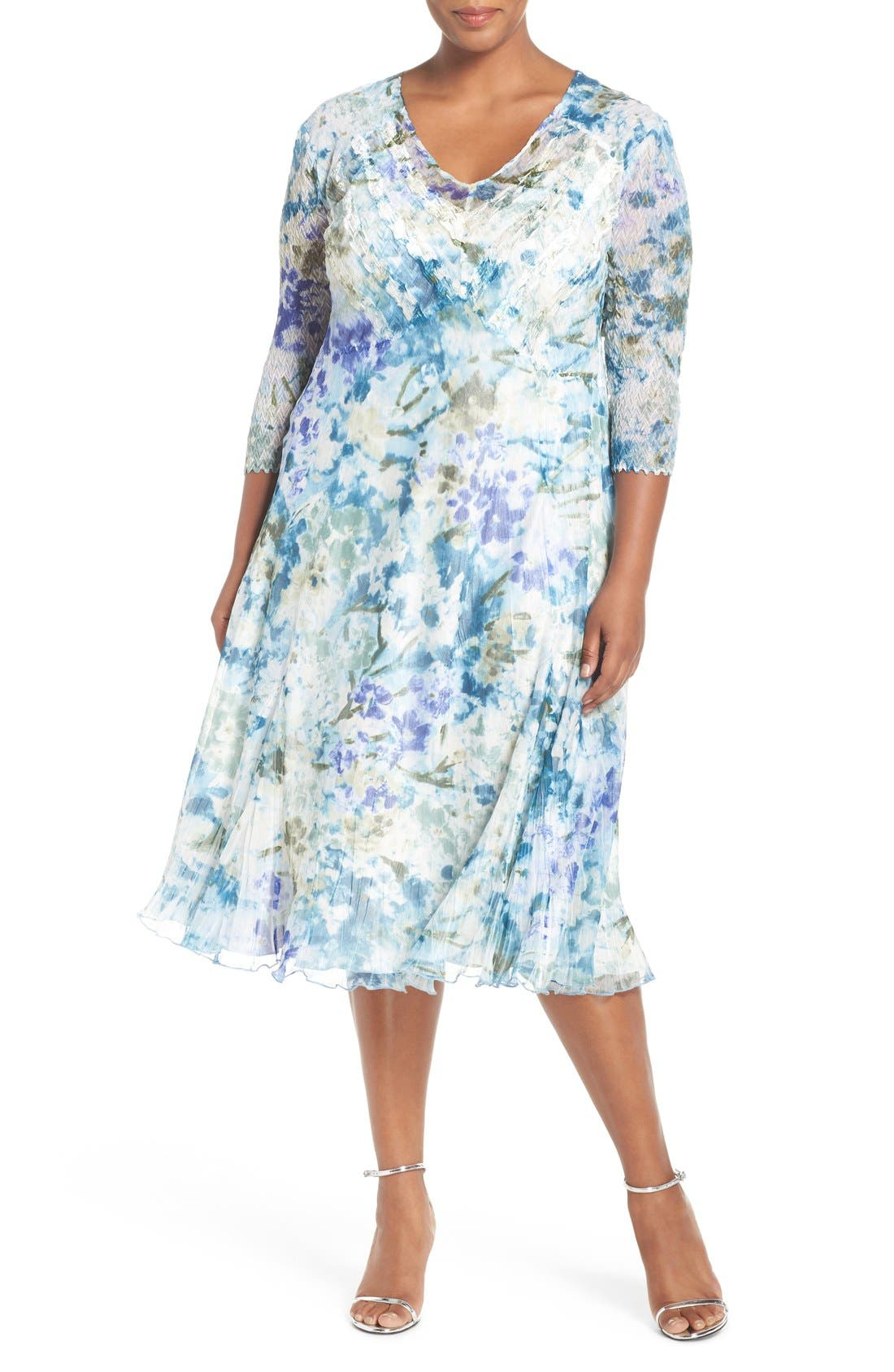 Print Three-Quarter Sleeve Chiffon A-Line Dress,                         Main,                         color, Monet Dream