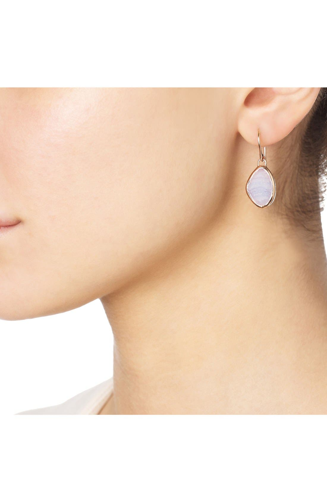 'Siren' Teardrop Earrings,                             Alternate thumbnail 2, color,                             Blue Lace Agate/ Rose Gold