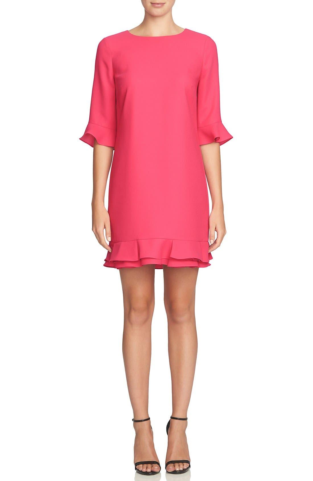 Alternate Image 1 Selected - CeCe 'Kate' Ruffle Hem Shift Dress (Regular & Petite)