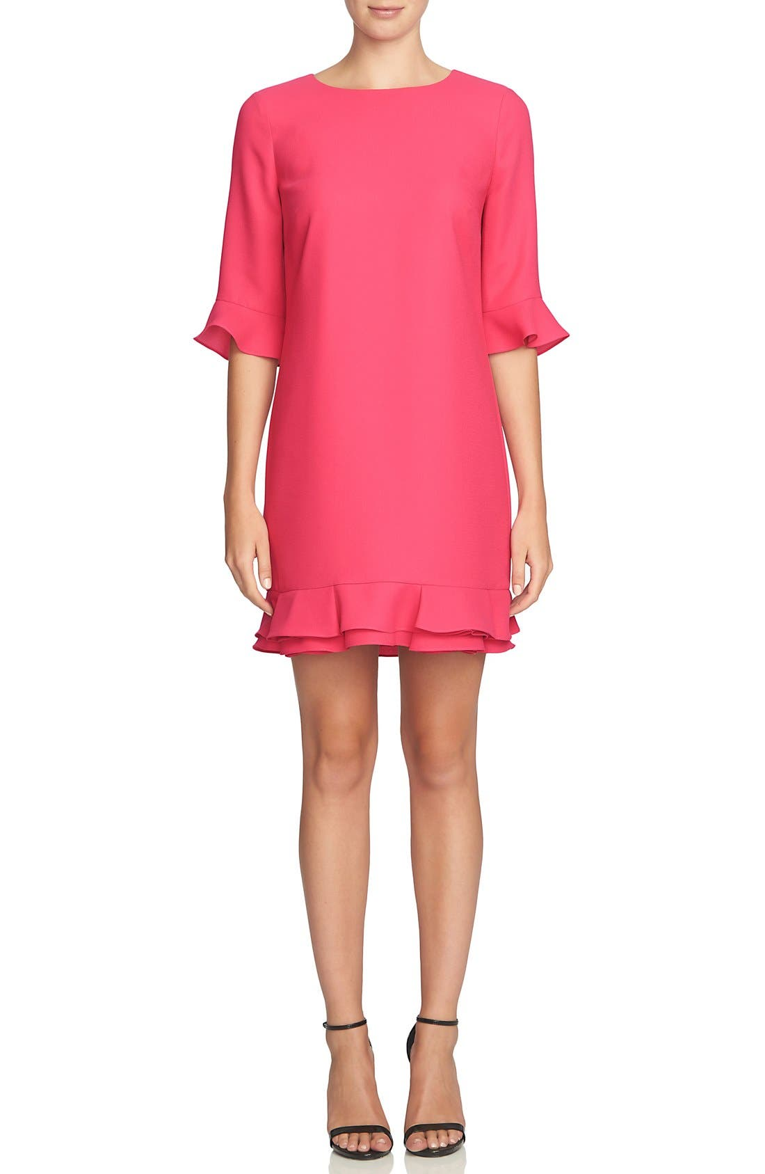 Main Image - CeCe 'Kate' Ruffle Hem Shift Dress (Regular & Petite)