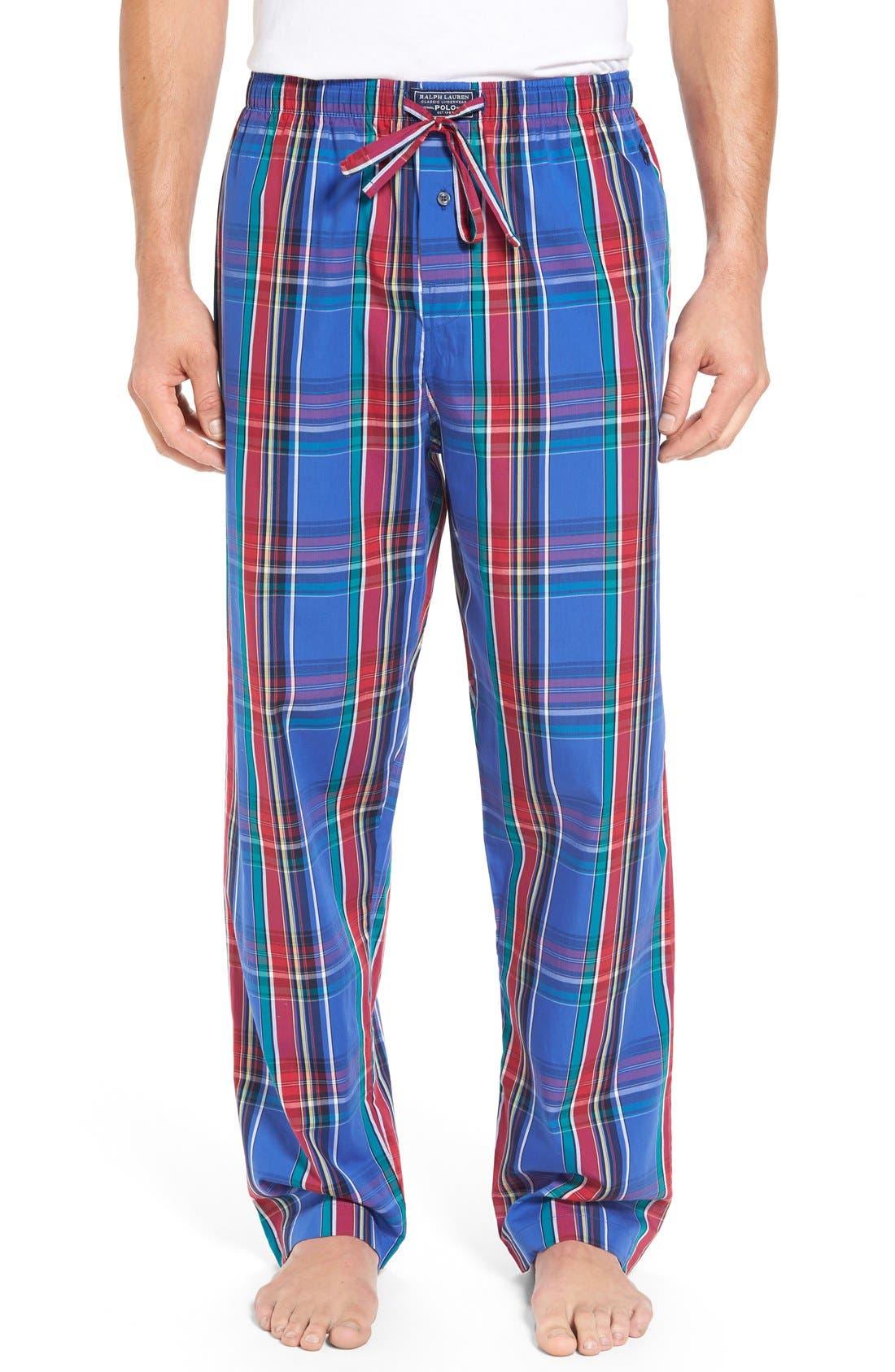 Cotton Lounge Pants,                         Main,                         color, Brighton Plaid