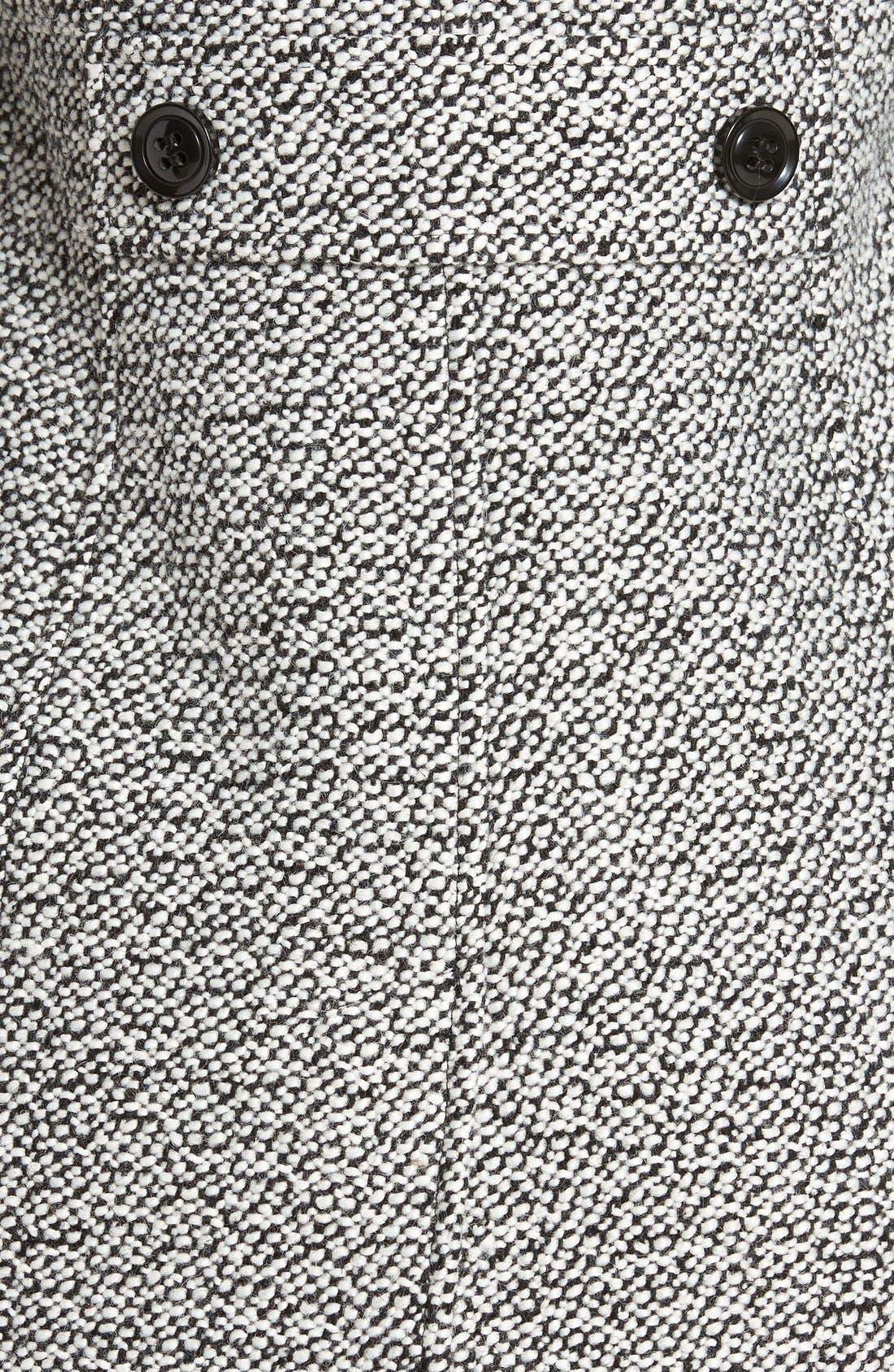 Notch Collar Tweed Coat,                             Alternate thumbnail 5, color,                             White/ Black