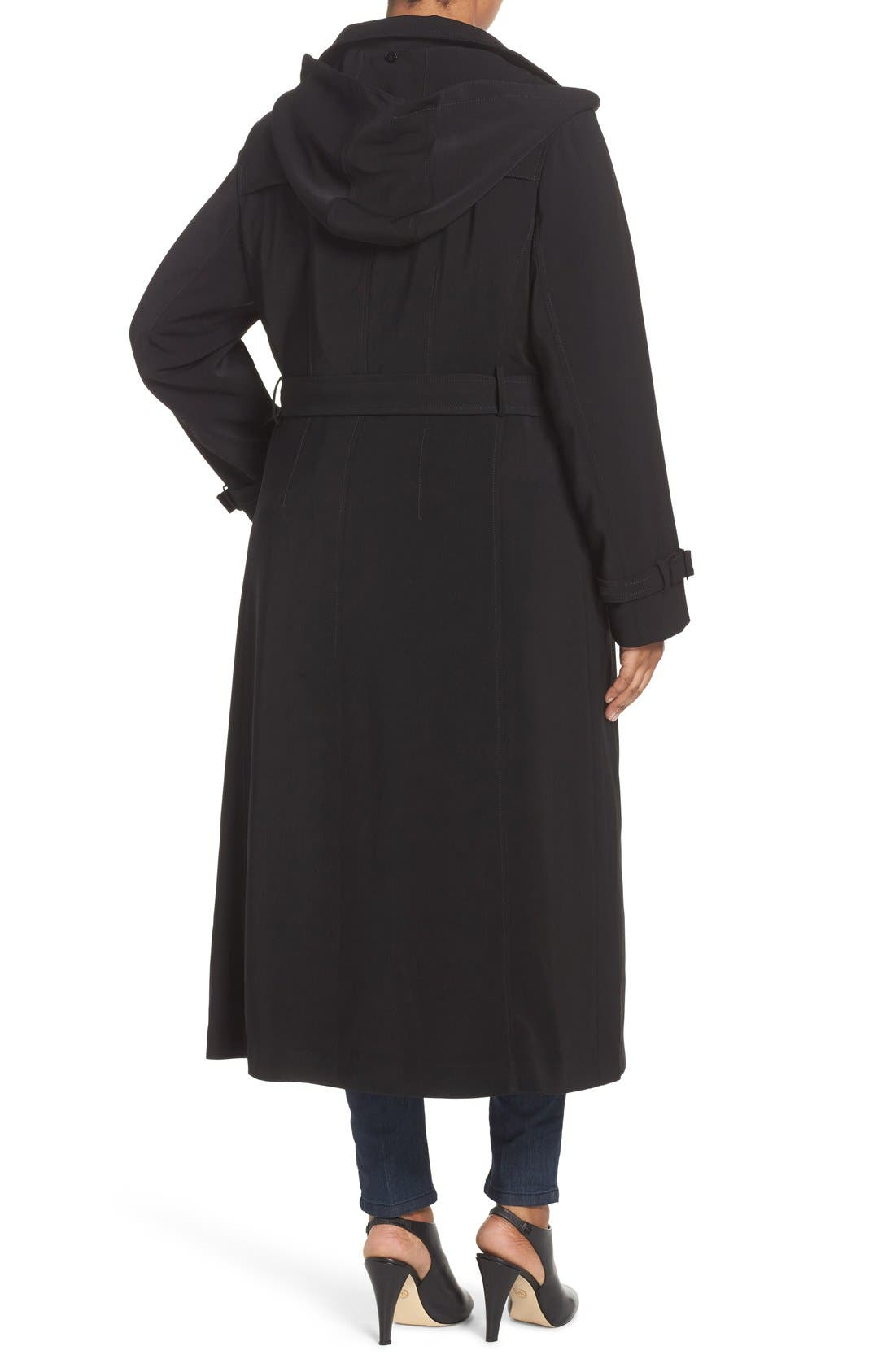 Alternate Image 2  - Gallery Long Nepage Raincoat with Detachable Hood & Liner (Plus Size)