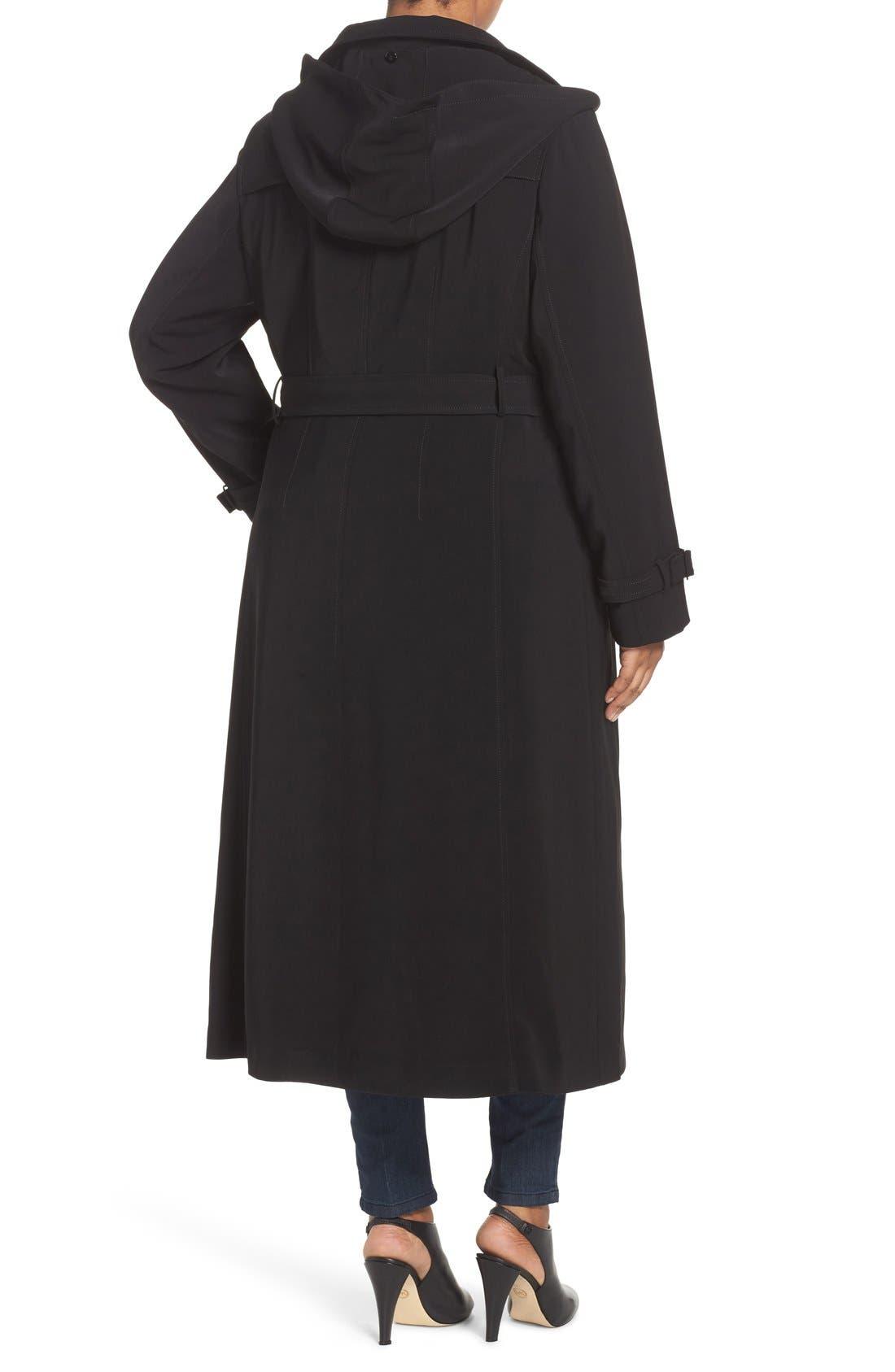 Long Nepage Raincoat with Detachable Hood & Liner,                             Alternate thumbnail 2, color,                             Black
