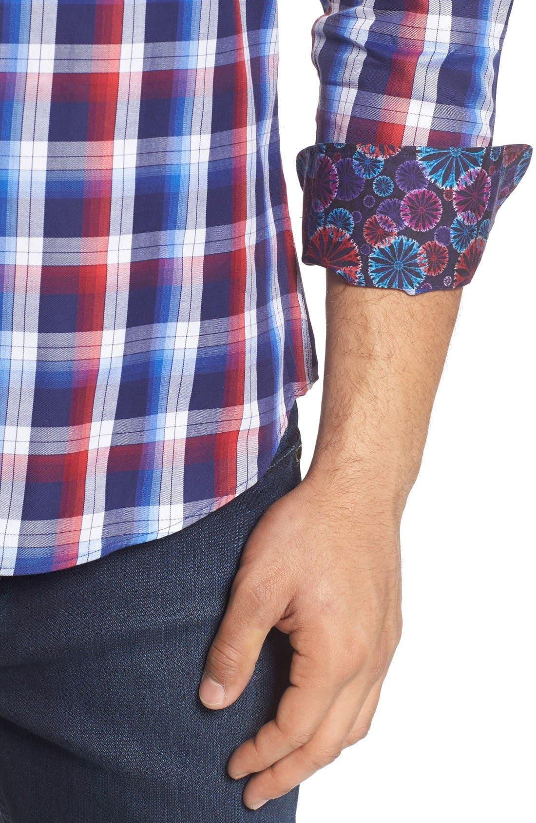 Slim Fit Plaid Sport Shirt,                             Alternate thumbnail 4, color,                             Red
