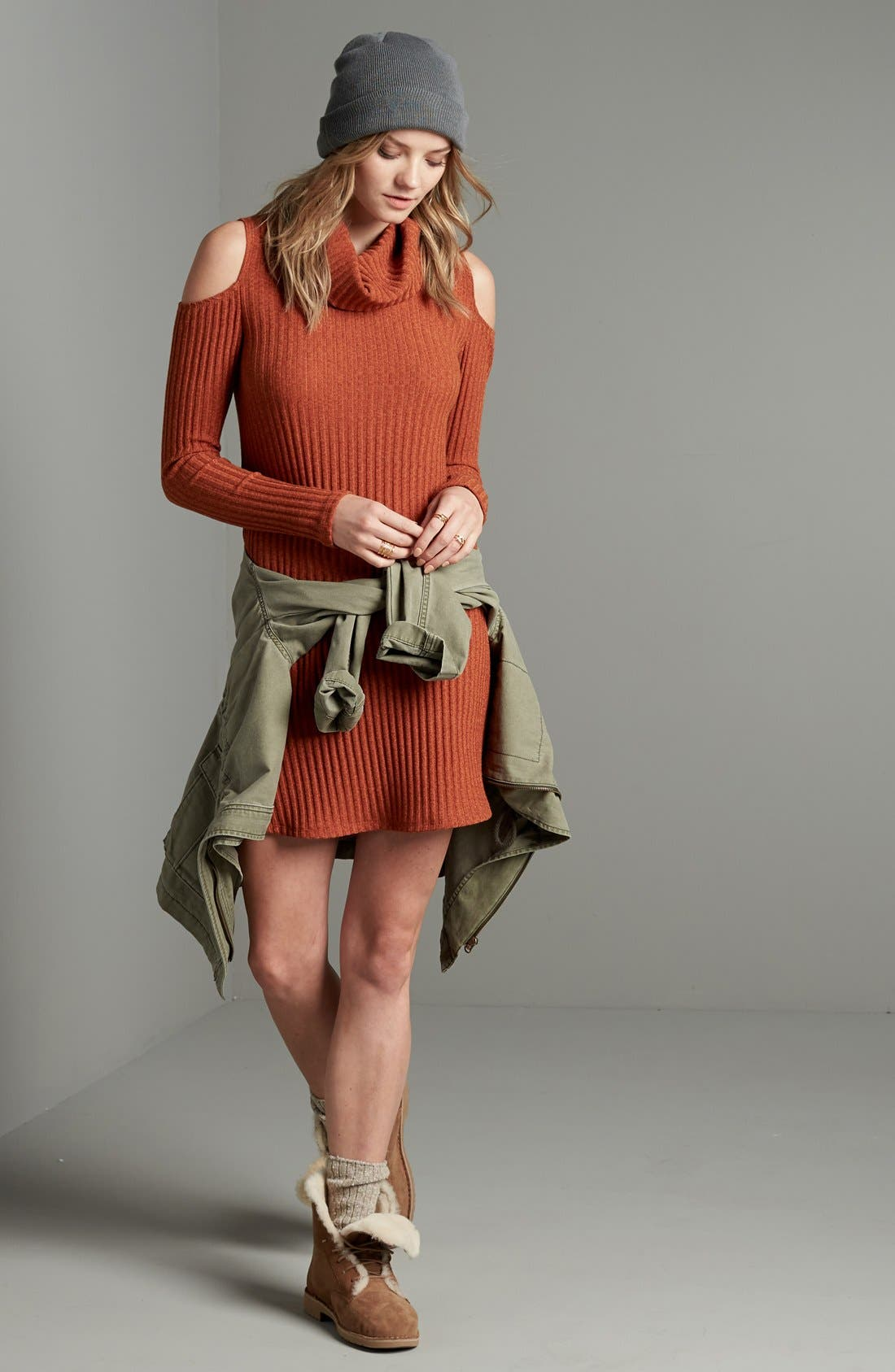 Alternate Image 2  - Socialite Cold Shoulder Rib Knit Dress