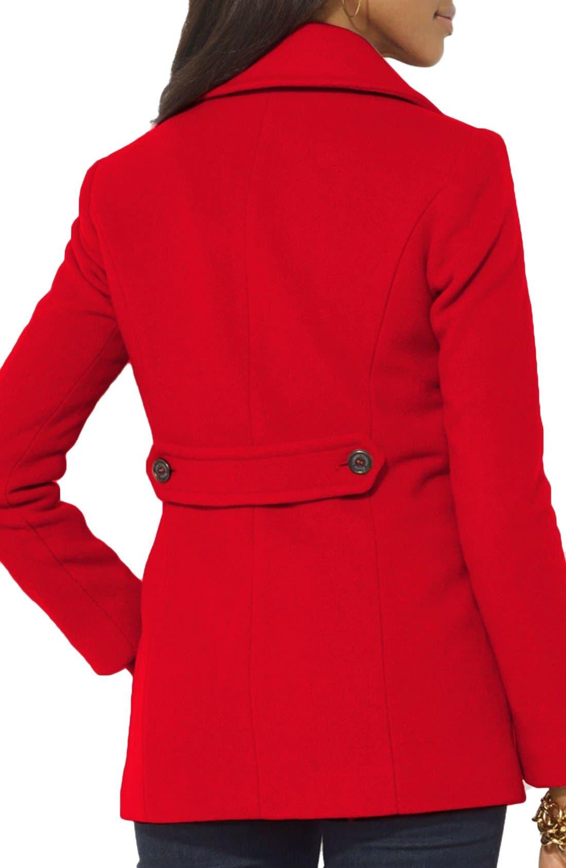 Alternate Image 2  - Lauren Ralph Lauren Double Breasted Wool Blend Peacoat