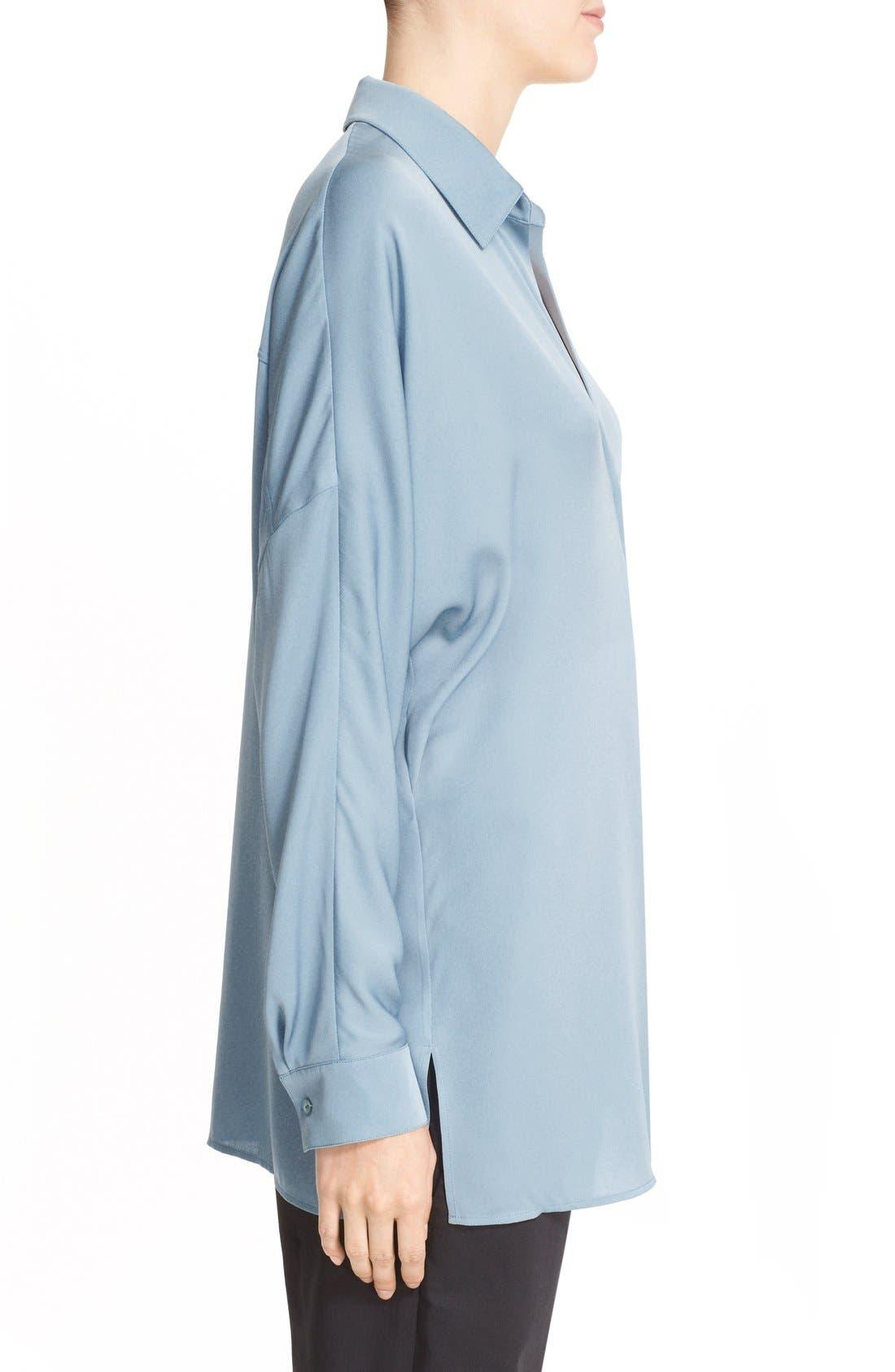 V-Neck Stretch Silk Blouse,                             Alternate thumbnail 3, color,                             Sky Blue