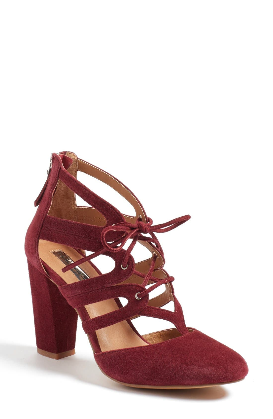 'Sydney' Block Heel Ghillie Pump,                             Main thumbnail 1, color,                             Burgundy Suede