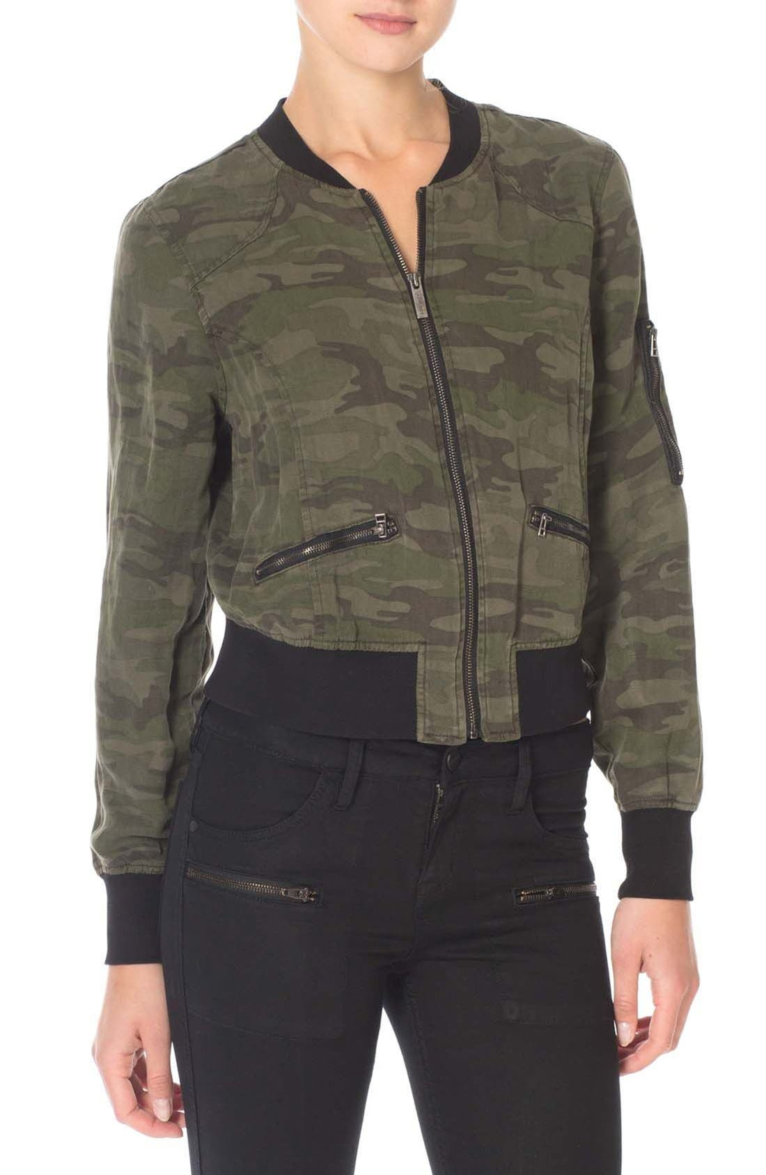 Camo Print Bomber Jacket,                         Main,                         color, Mother Nature Camo