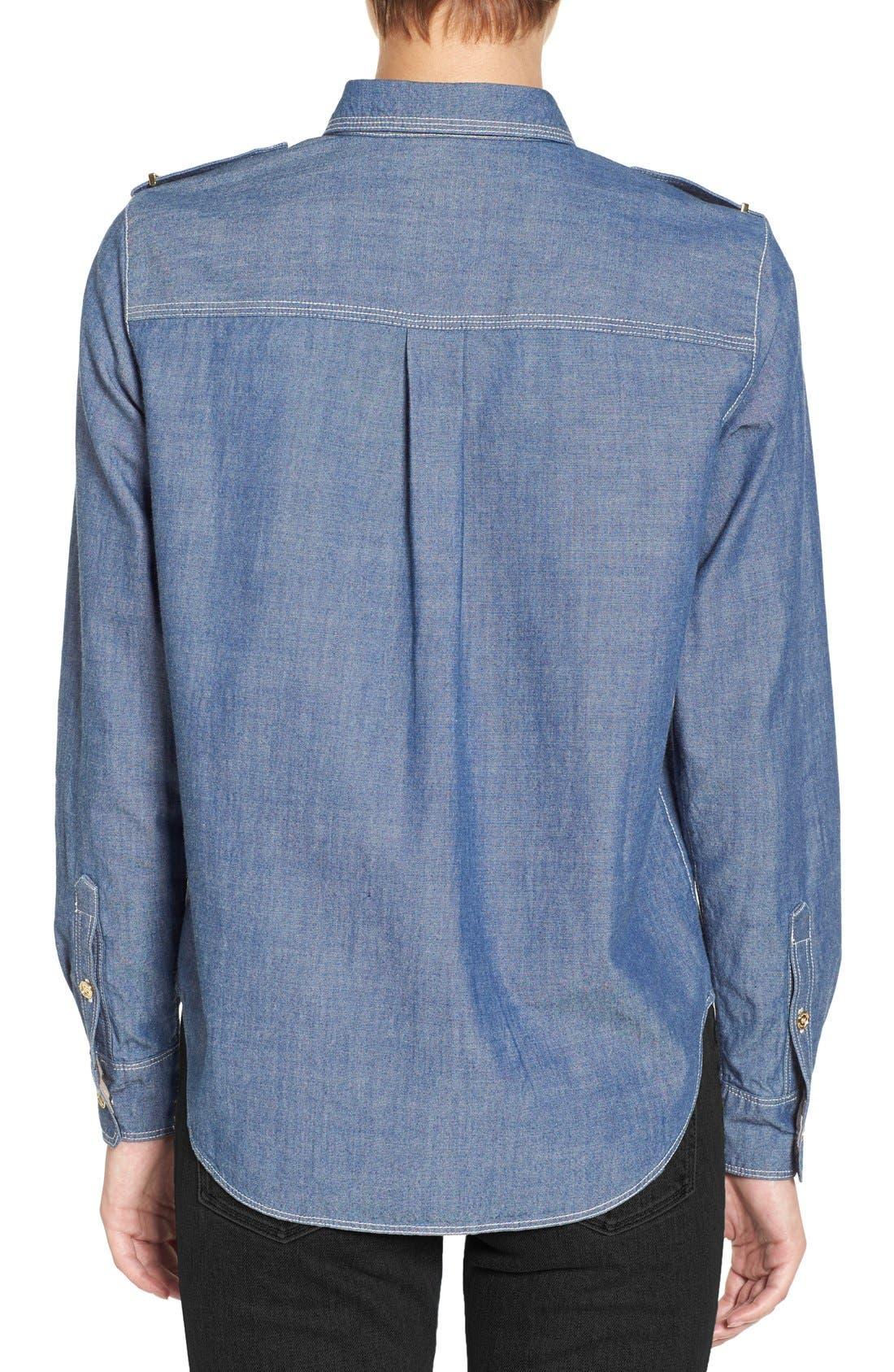 Alternate Image 2  - Burberry Check Cuff Denim Shirt
