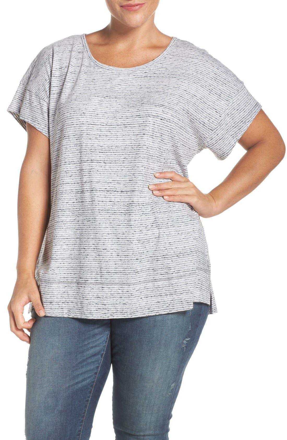 Stripe Short Sleeve Tee,                         Main,                         color, Ivory- Black Pattern