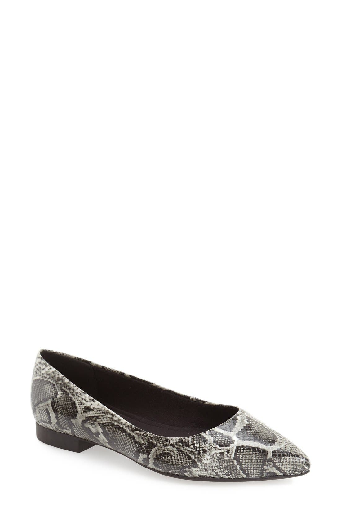'Vivien' Pointy Toe Flat,                             Main thumbnail 1, color,                             Black/ White Snake Print
