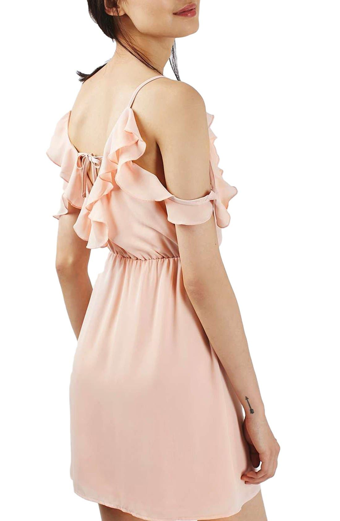 Alternate Image 2  - Topshop Ruffle Cold Shoulder Wrap Minidress