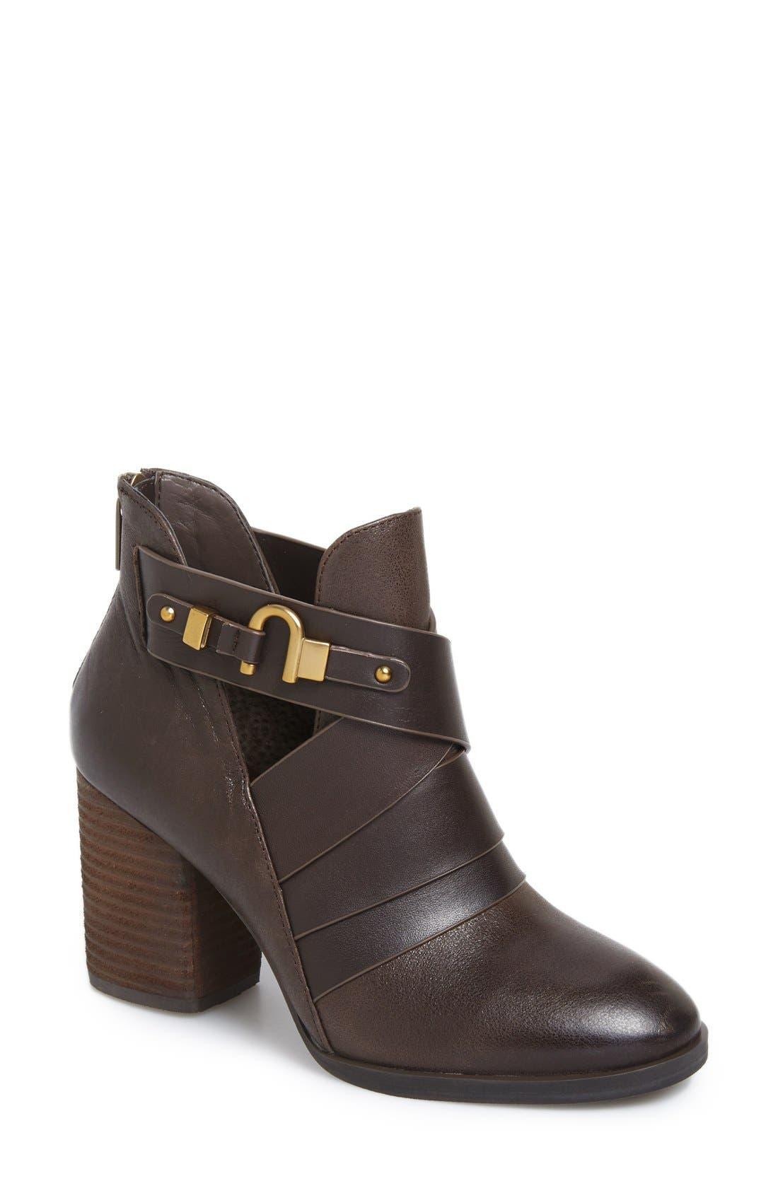 Isolà 'Ladora' Block Heel Bootie,                             Main thumbnail 1, color,                             Dark Brown Leather