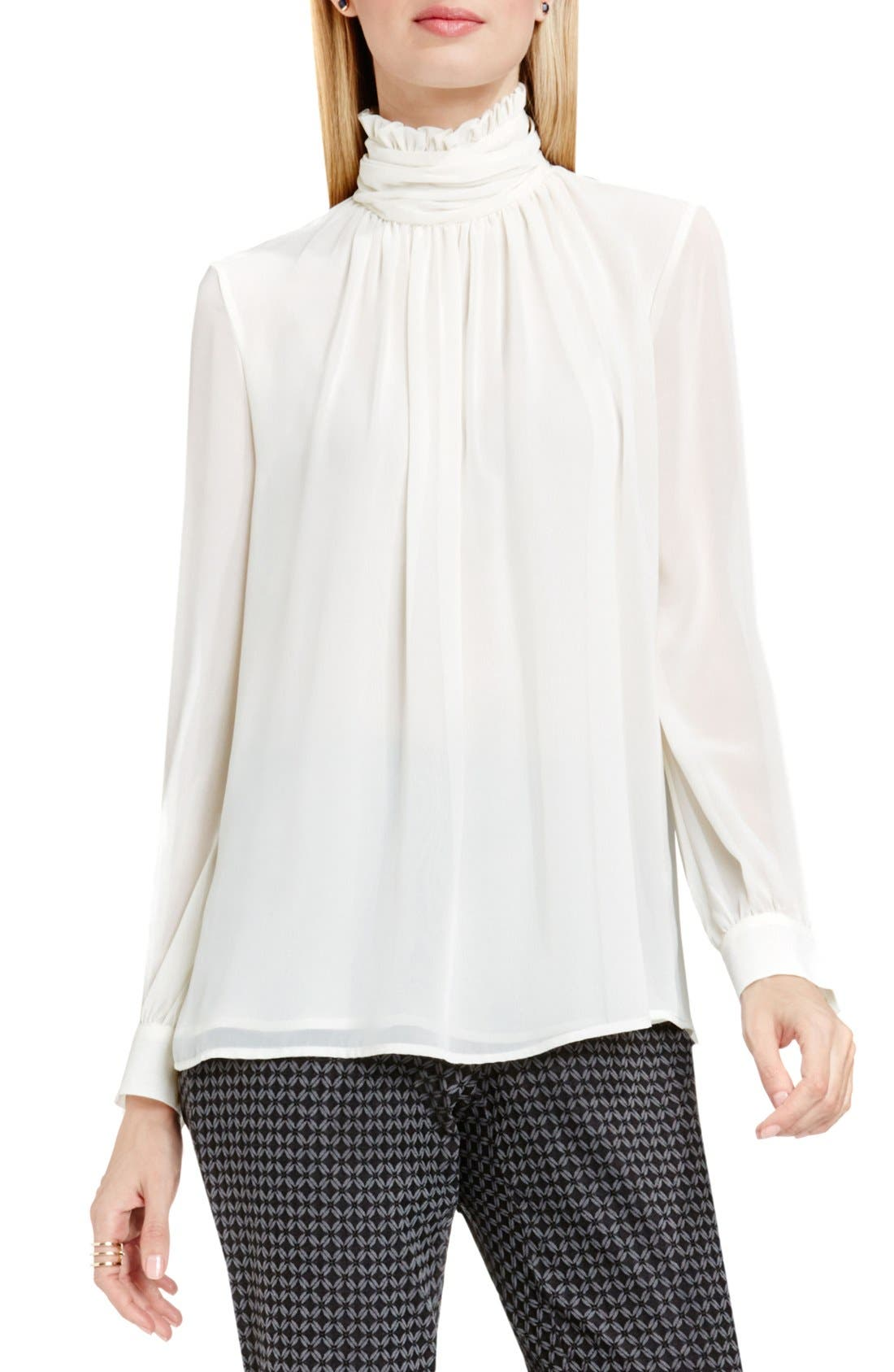 Alternate Image 1 Selected - Vince Camuto Ruffle Collar Blouse (Regular & Petite)