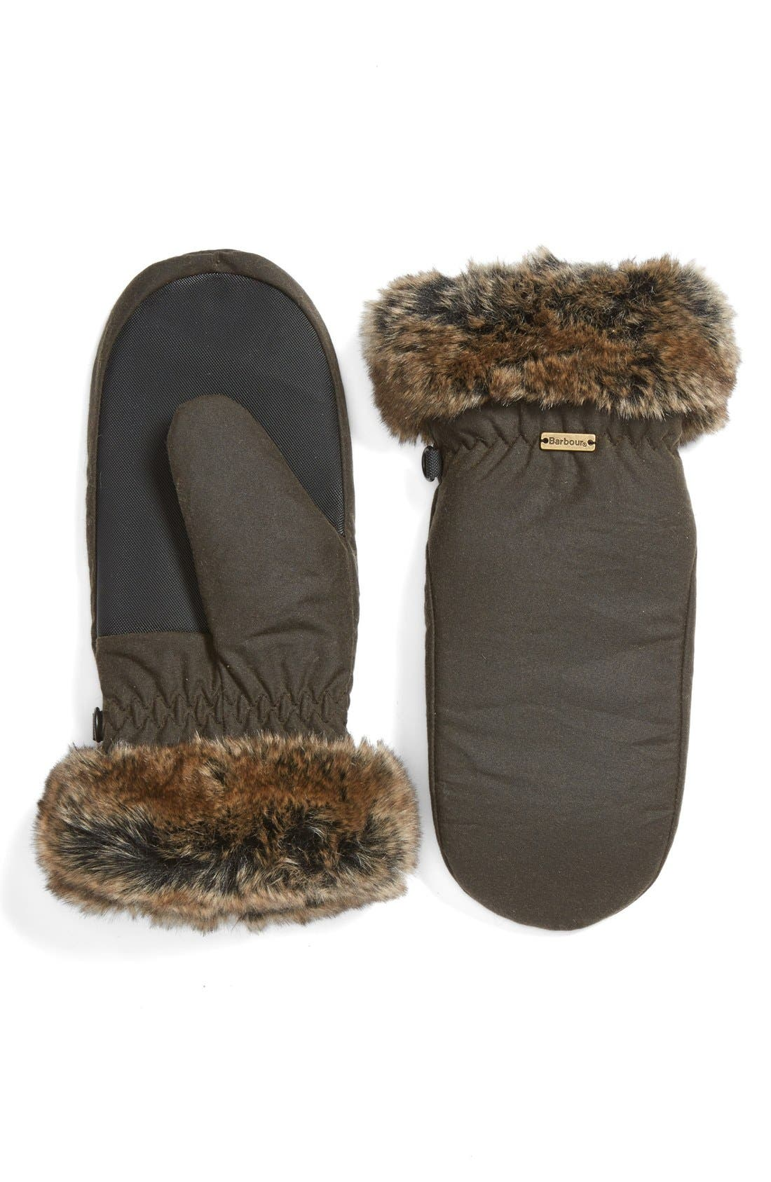 Barbour Waxed Cotton Mittens with Faux Fur Trim